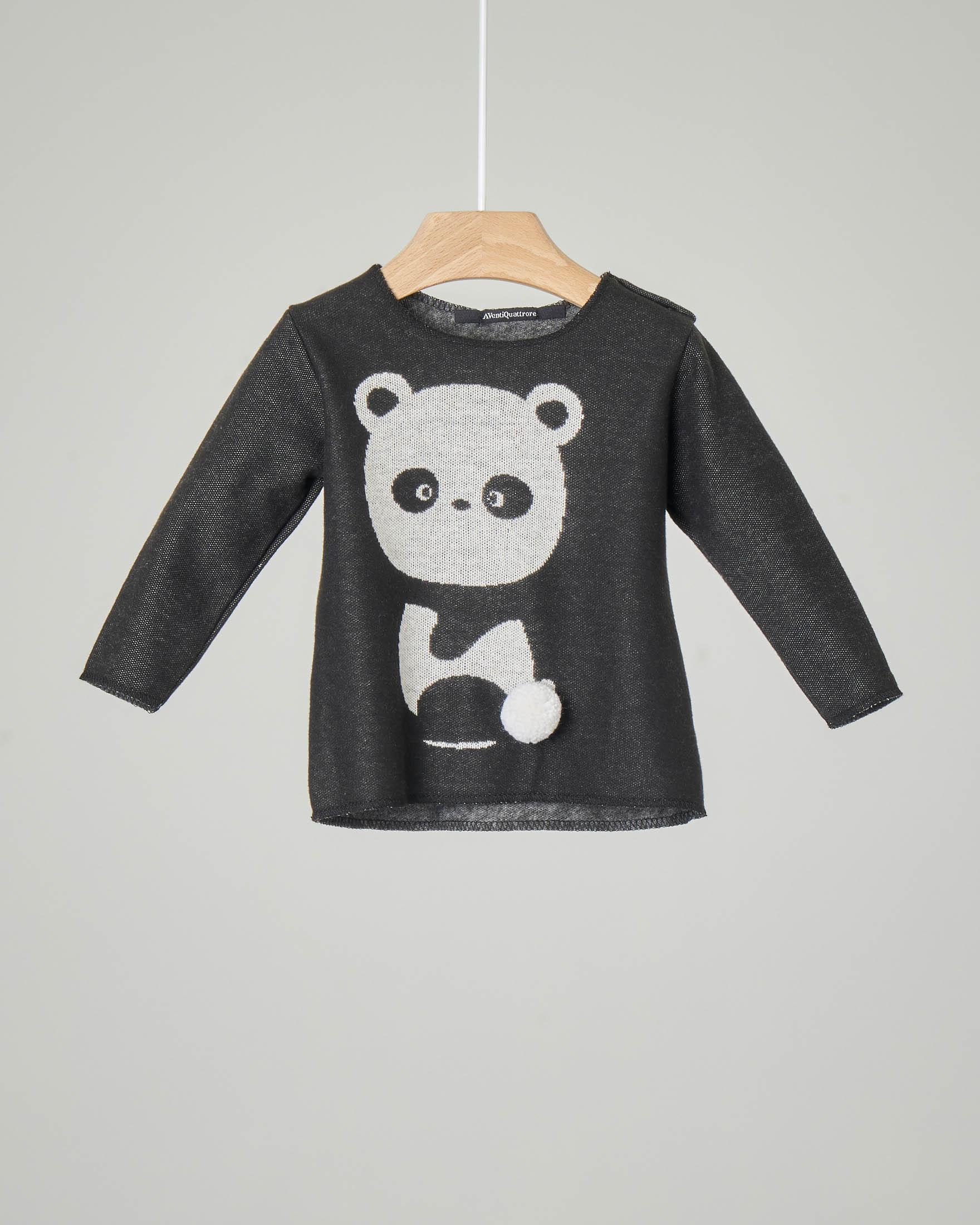 Felpa grigio antracite con stampa panda e pompon 3-12 mesi