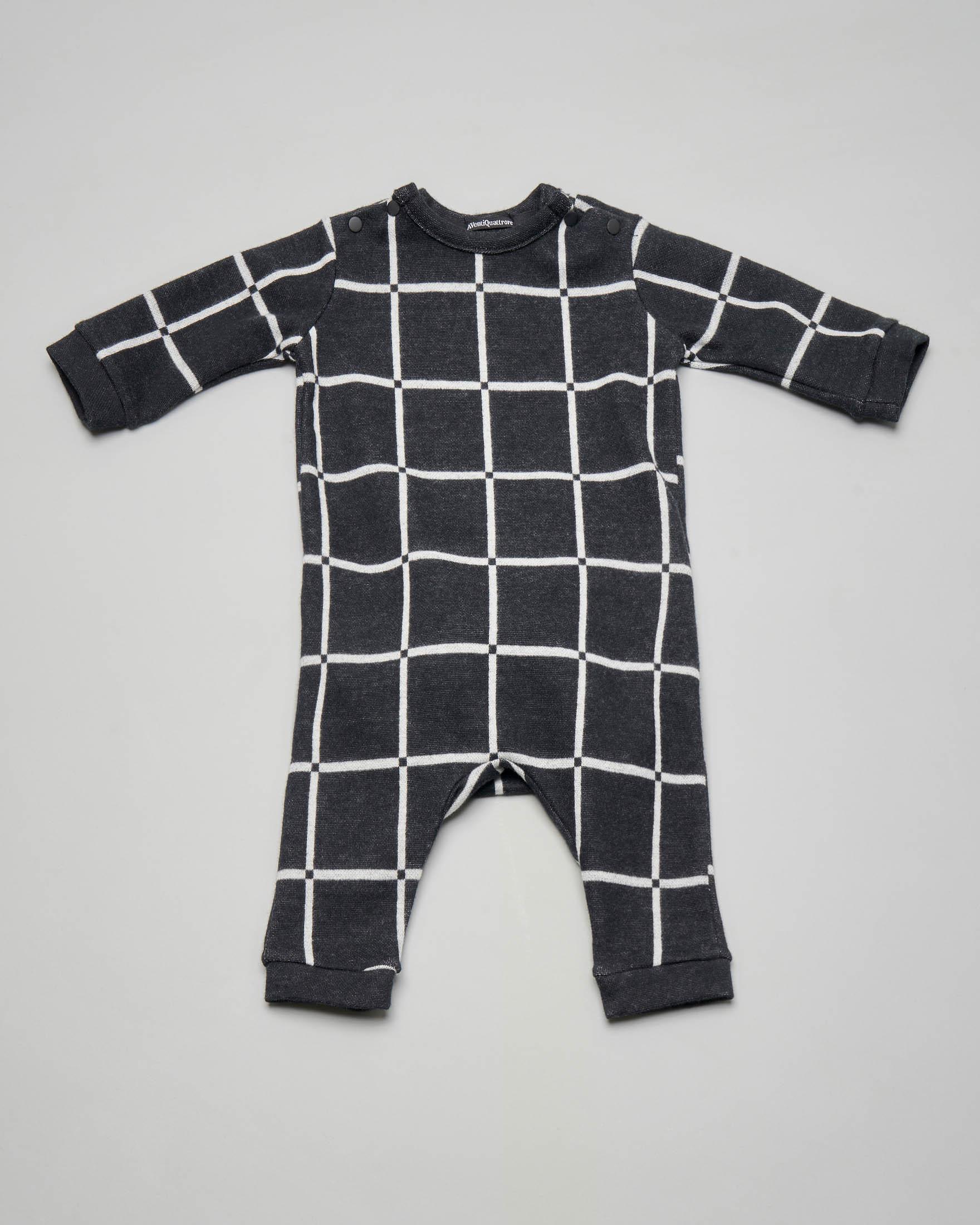 Tutina grigio antracite con quadri bianchi 3-9 mesi