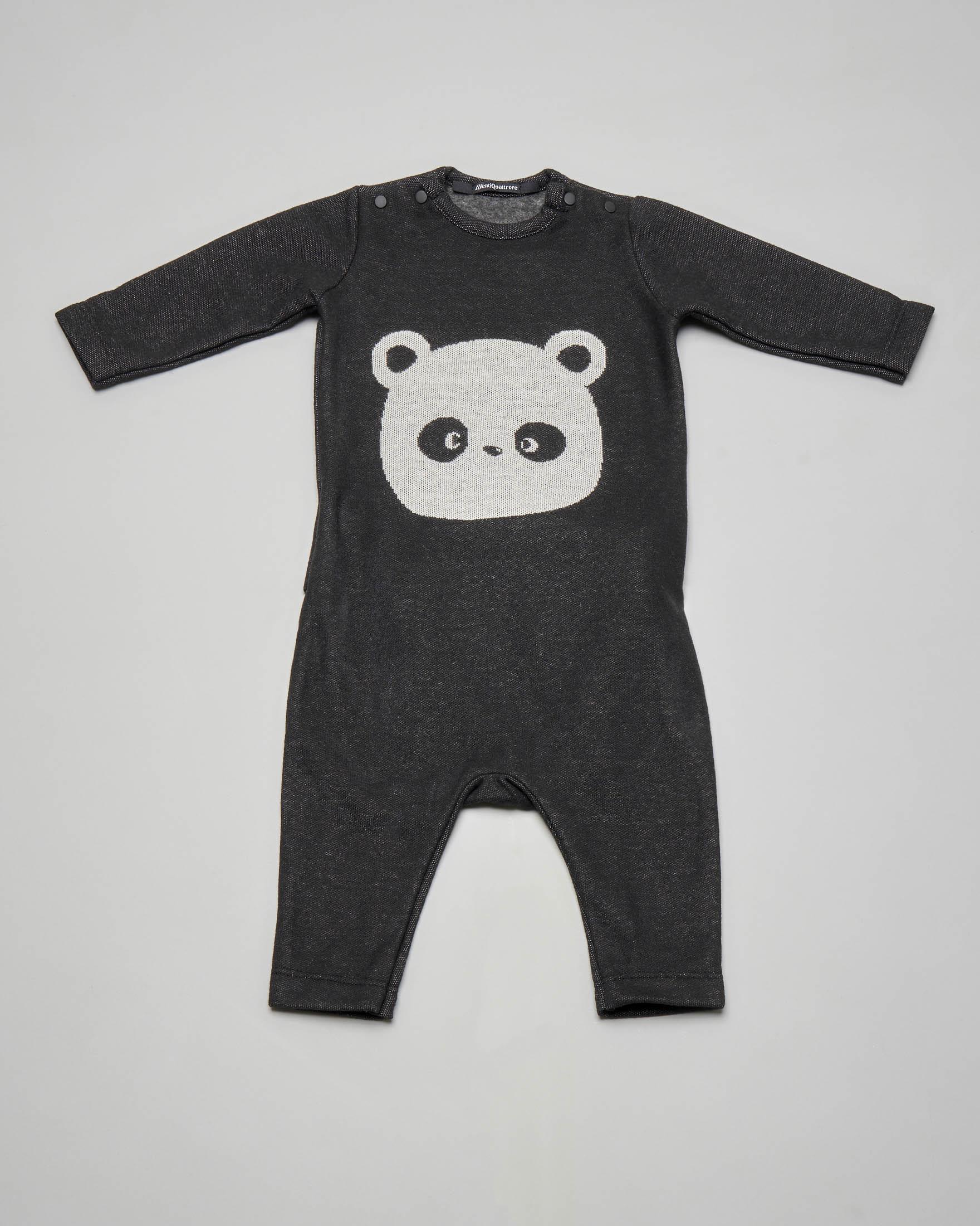 Tutina grigio antracite con stampa panda 3-9 mesi