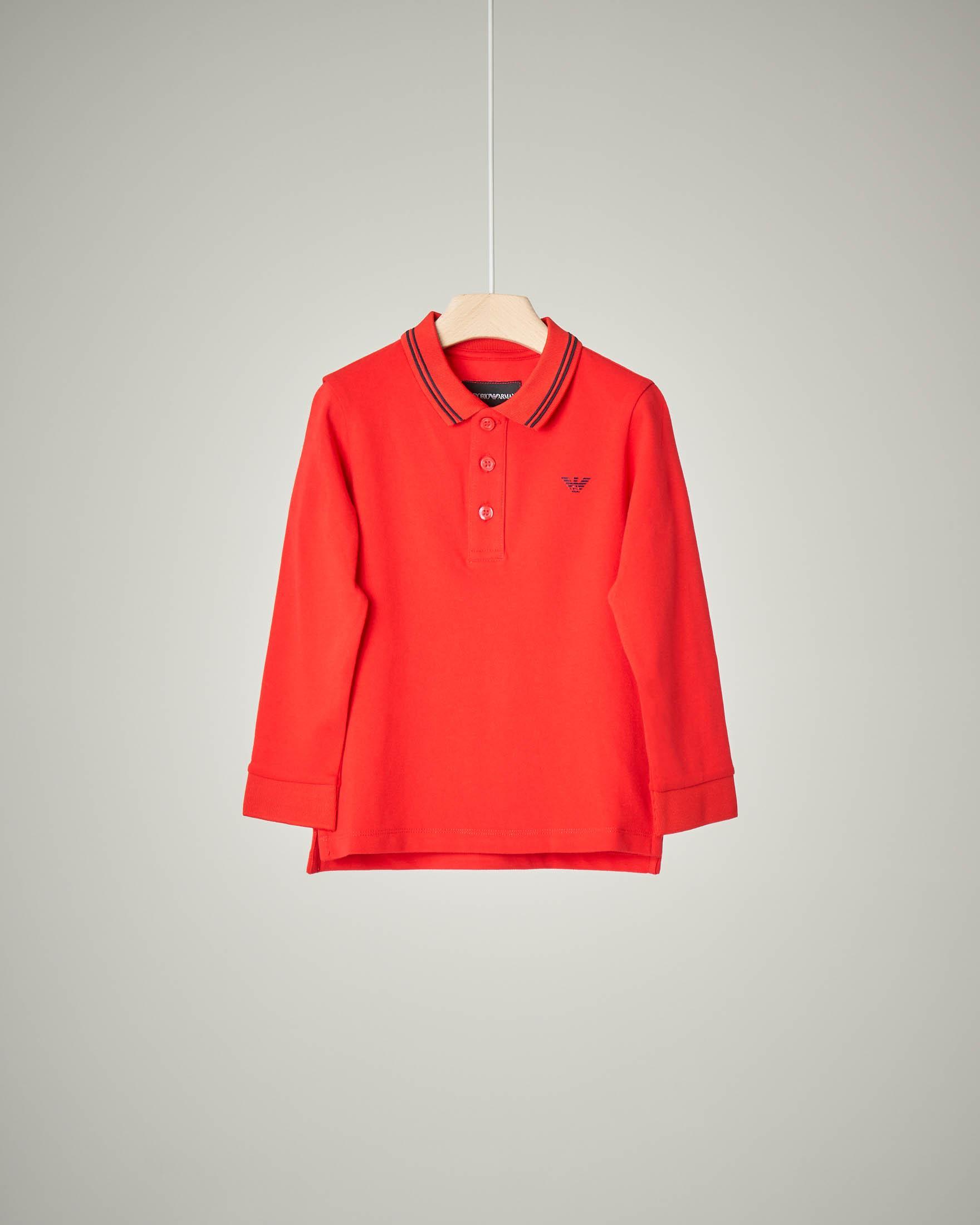 Polo rossa manica lunga con bordino 4-8 anni