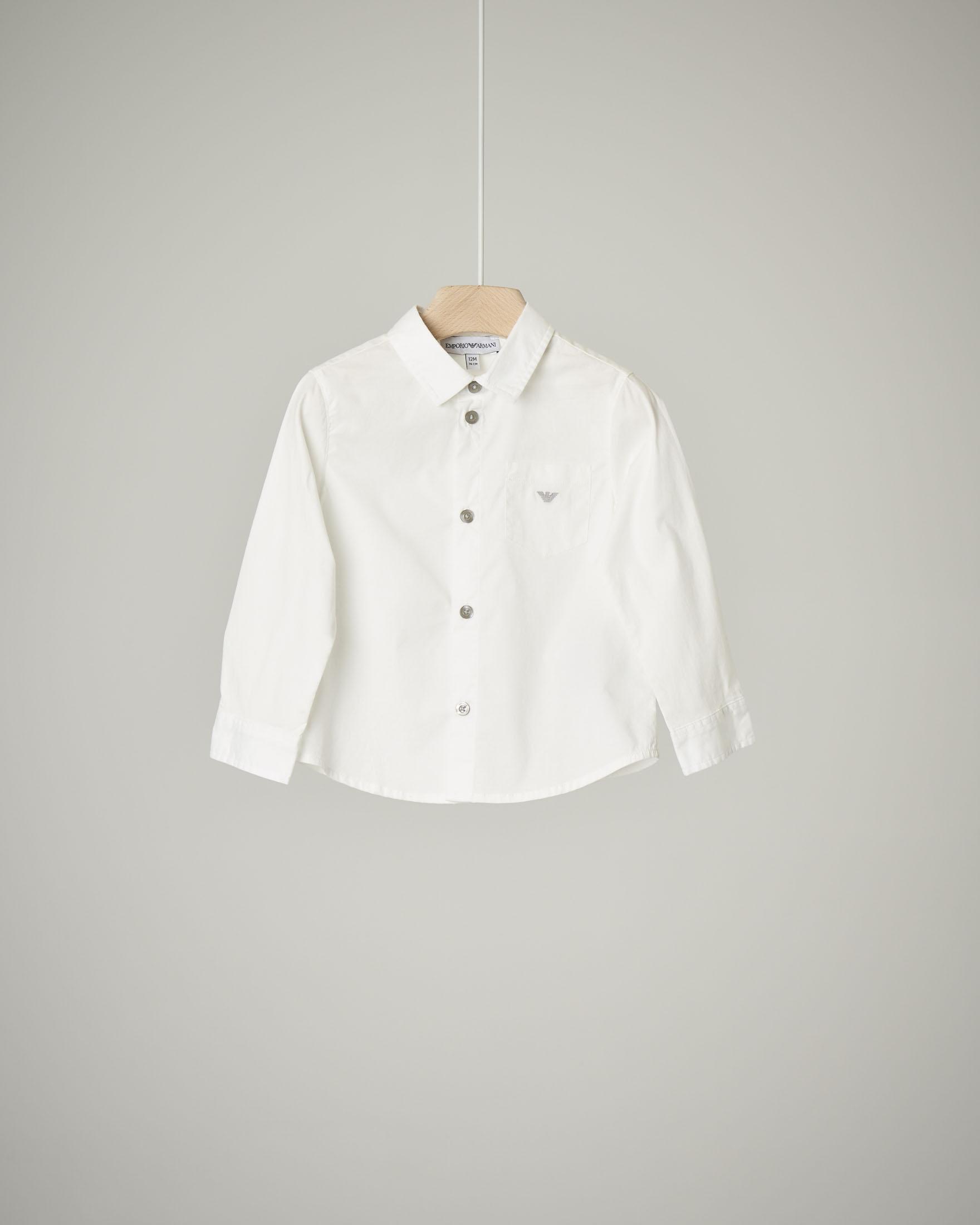 Camicia bianca manica lunga in cotone stretch 9-36 mesi
