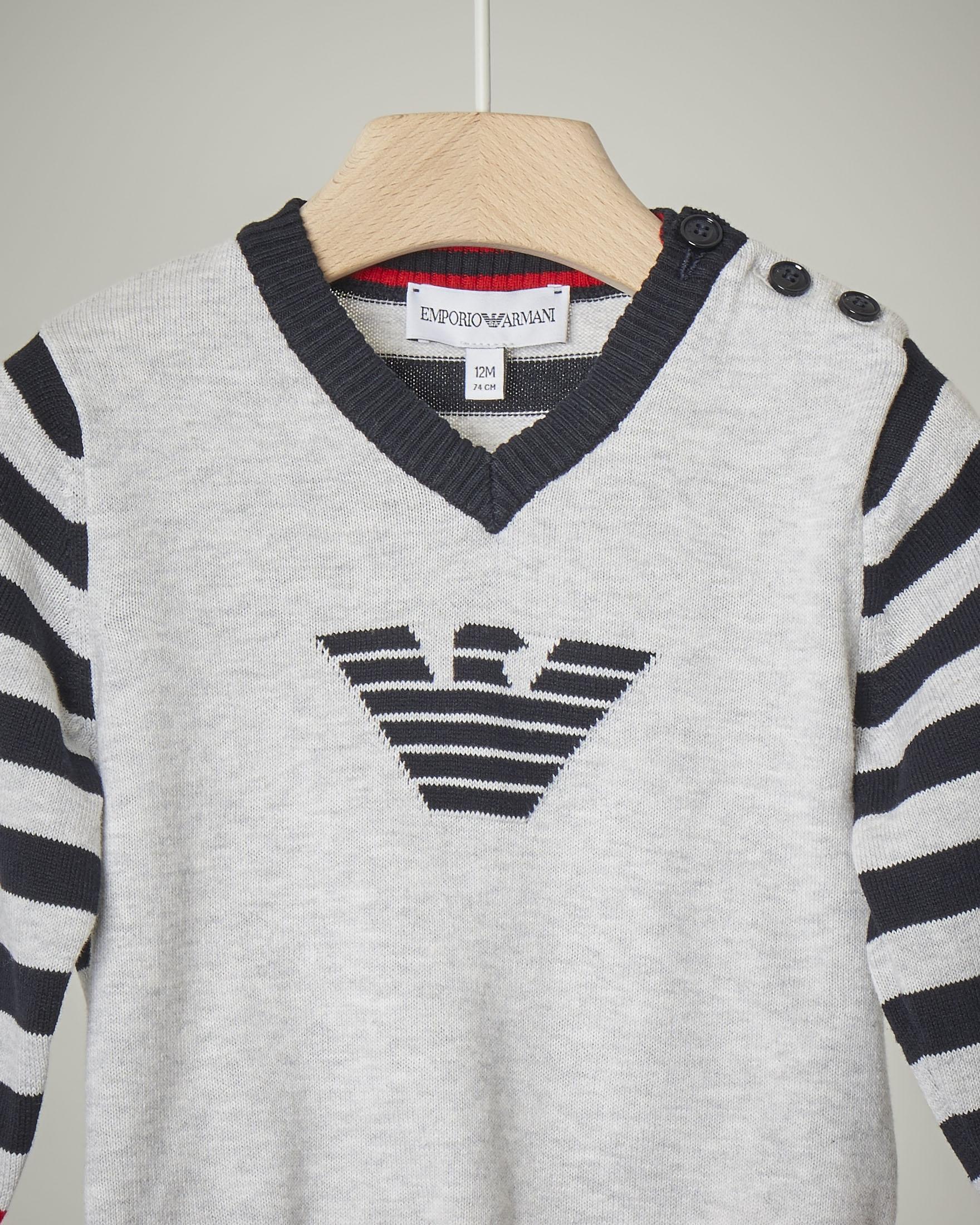 Maglioncino grigio con fantasia a righe e logo frontale 9-36 mesi