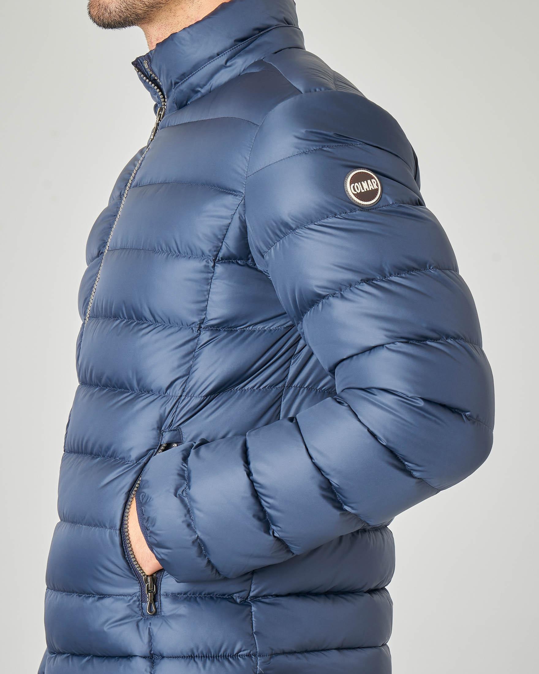 Piumino blu con cappuccio staccabile