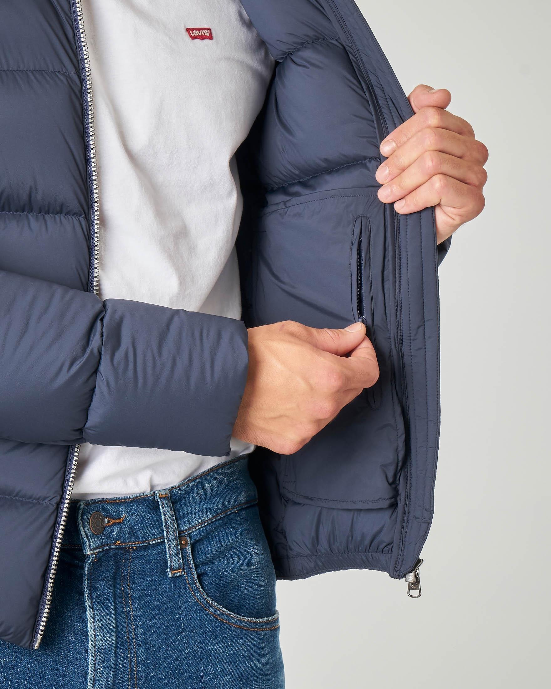 Piumino blu in tessuto stretch opaco con cappuccio fisso | Pellizzari E commerce