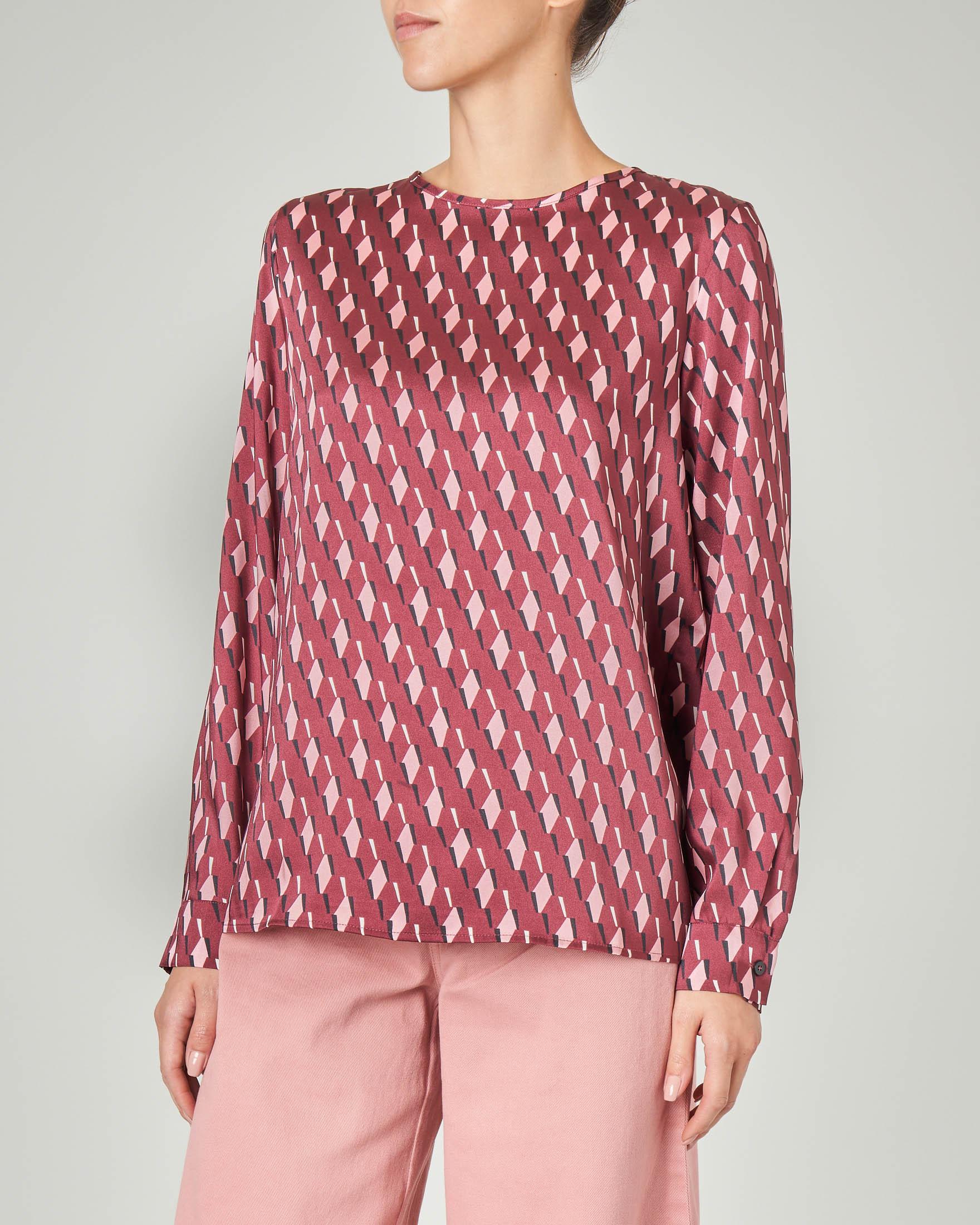 Blusa linea dritta bordeaux a stampa geometrica rombi rosa