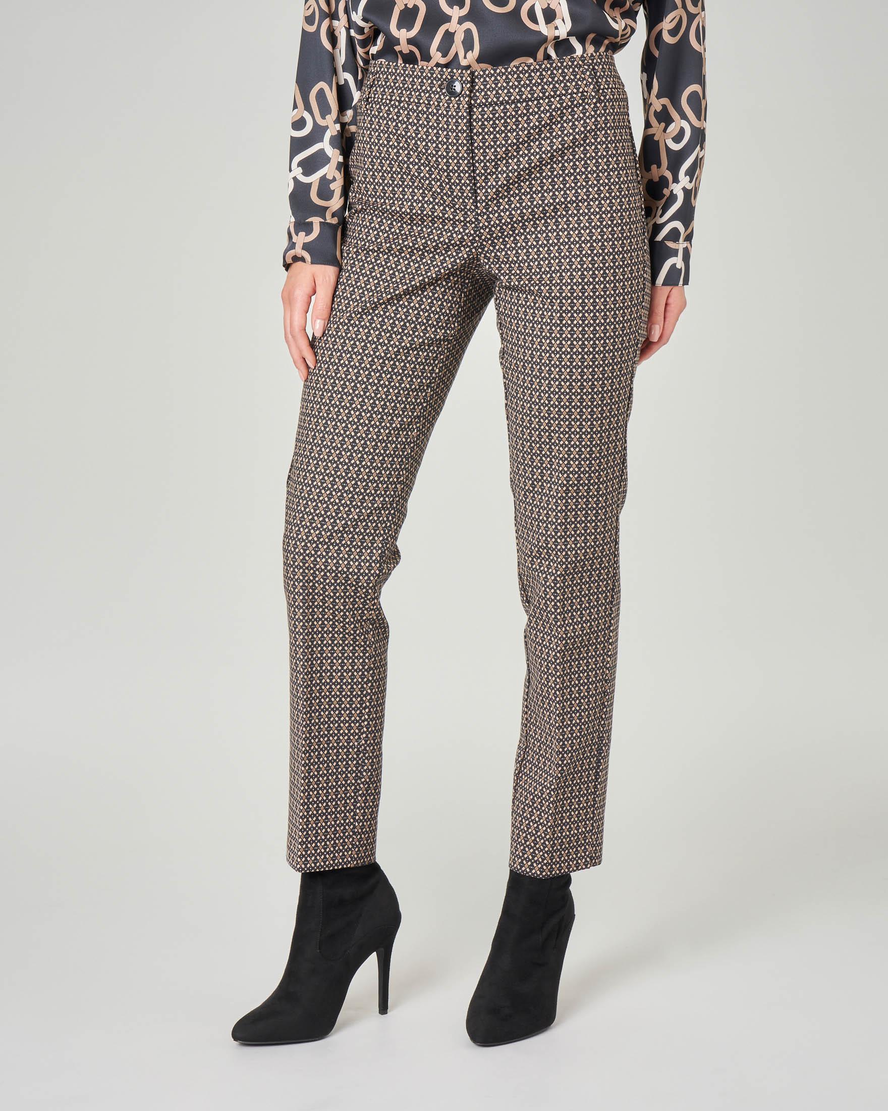Pantaloni a sigaretta in cotone stretch a micro fantasia jacquard nero e cammello