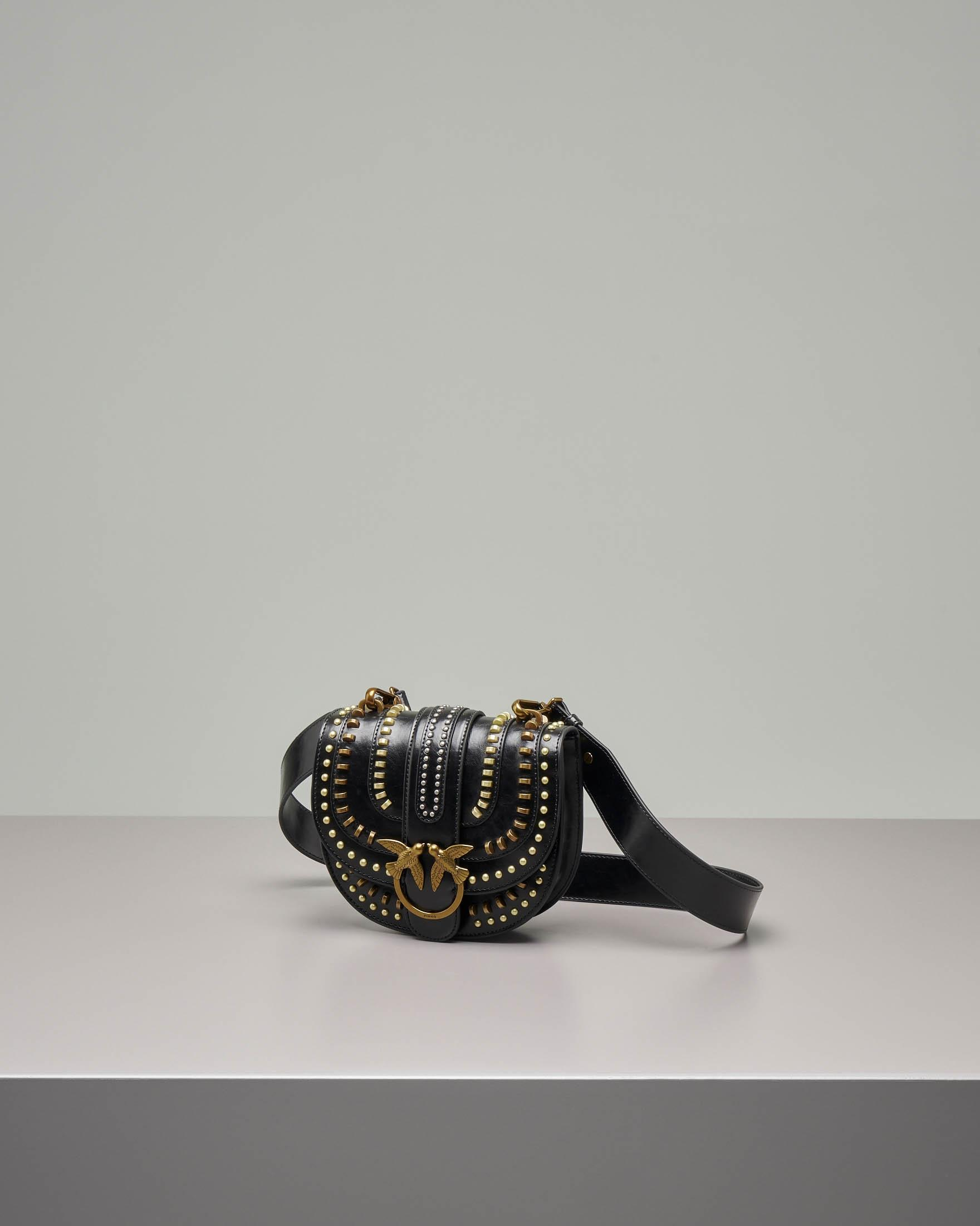 Round Love Bag Mix Studs in pelle nera
