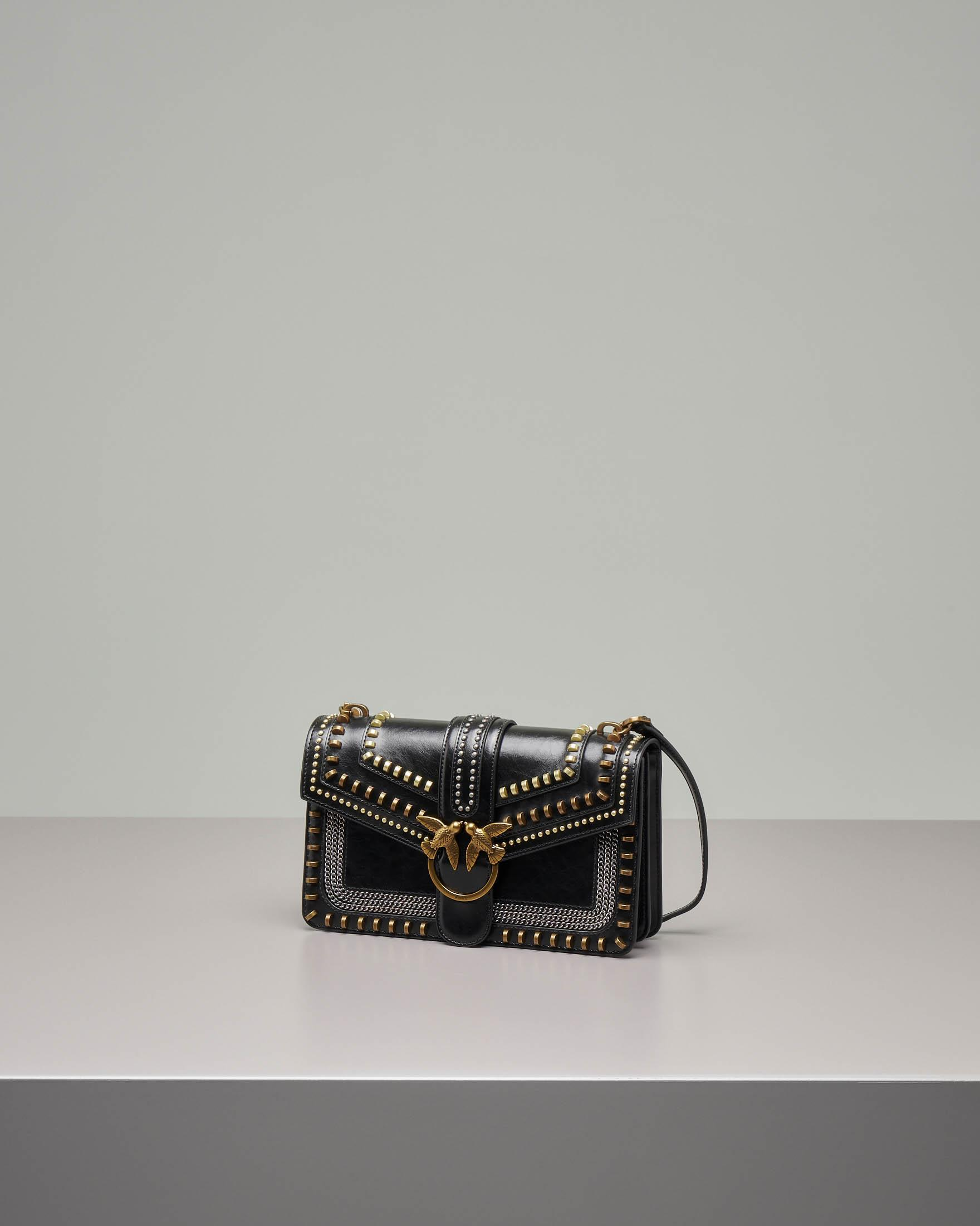 Love Bag Mix Studs in pelle nera con mix di borchie applicate