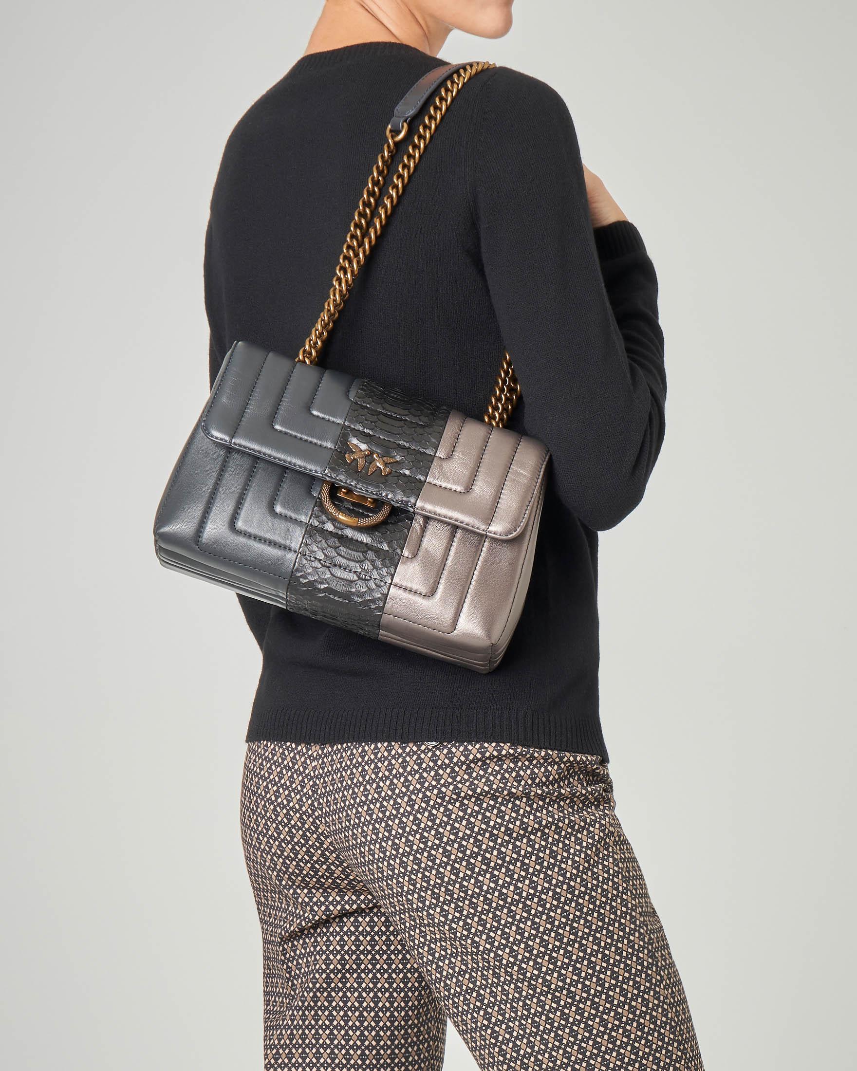 Love Soft Bag tricolore in nappa effetto laminato con inserto pitonato