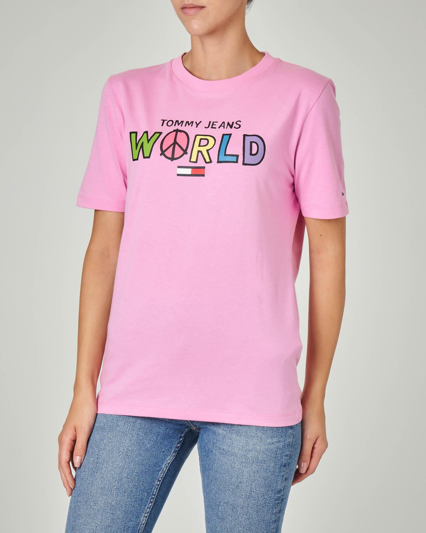 T-shirt rosa in cotone organico con stampa Tommy Jeans World