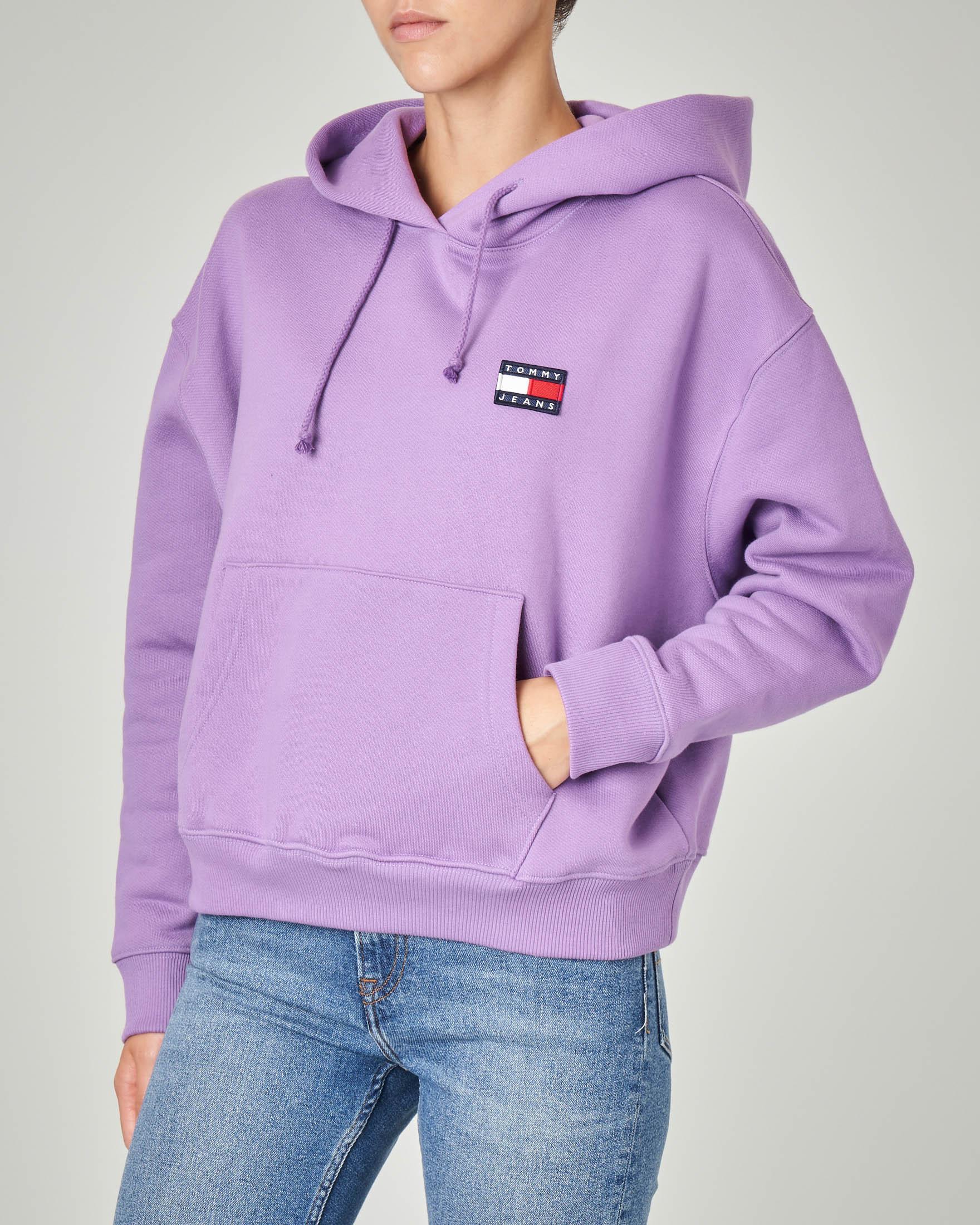Felpa over colore viola in jersey di cotone con cappuccio