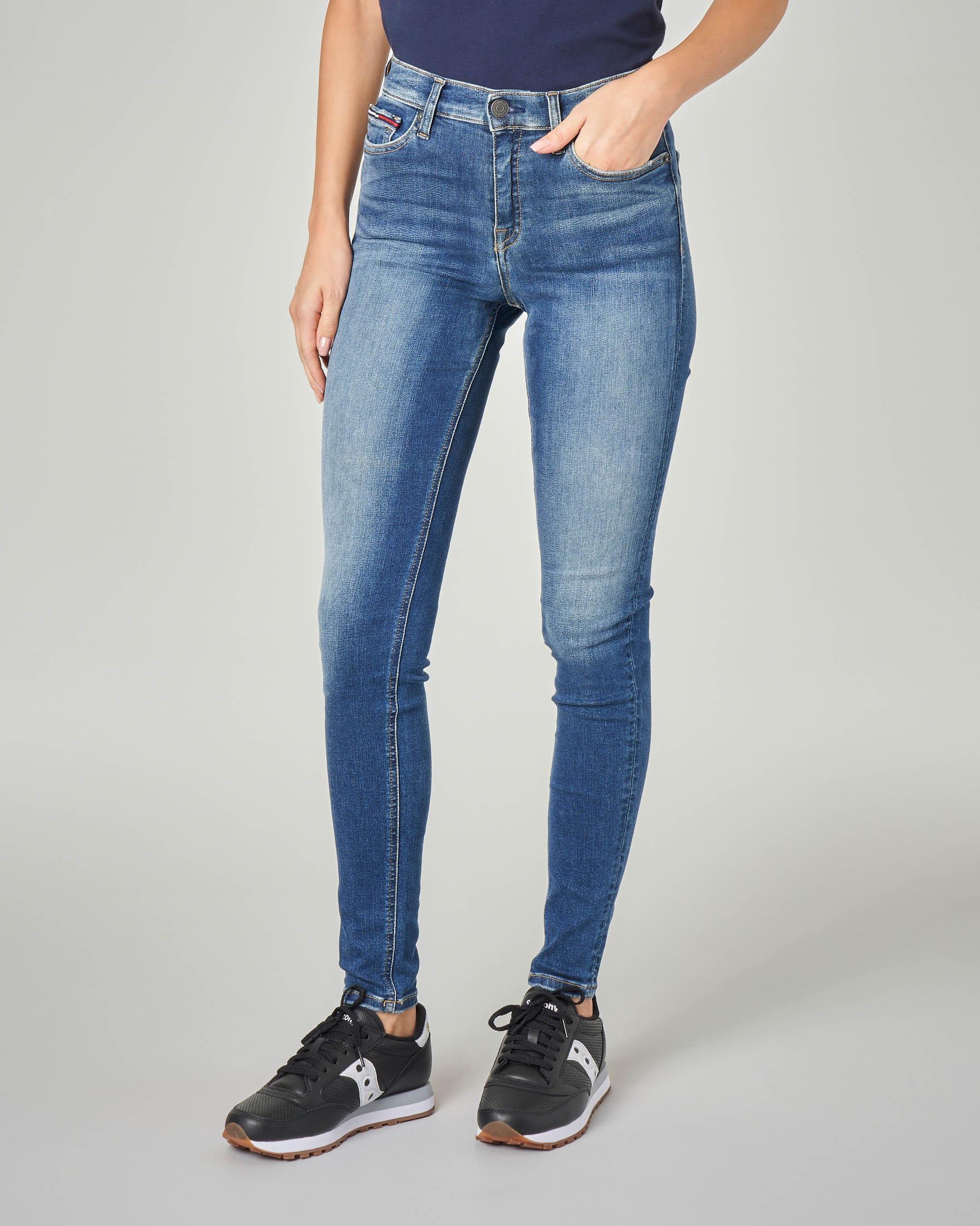 Jeans skinny blu stone washed in cotone elasticizzato