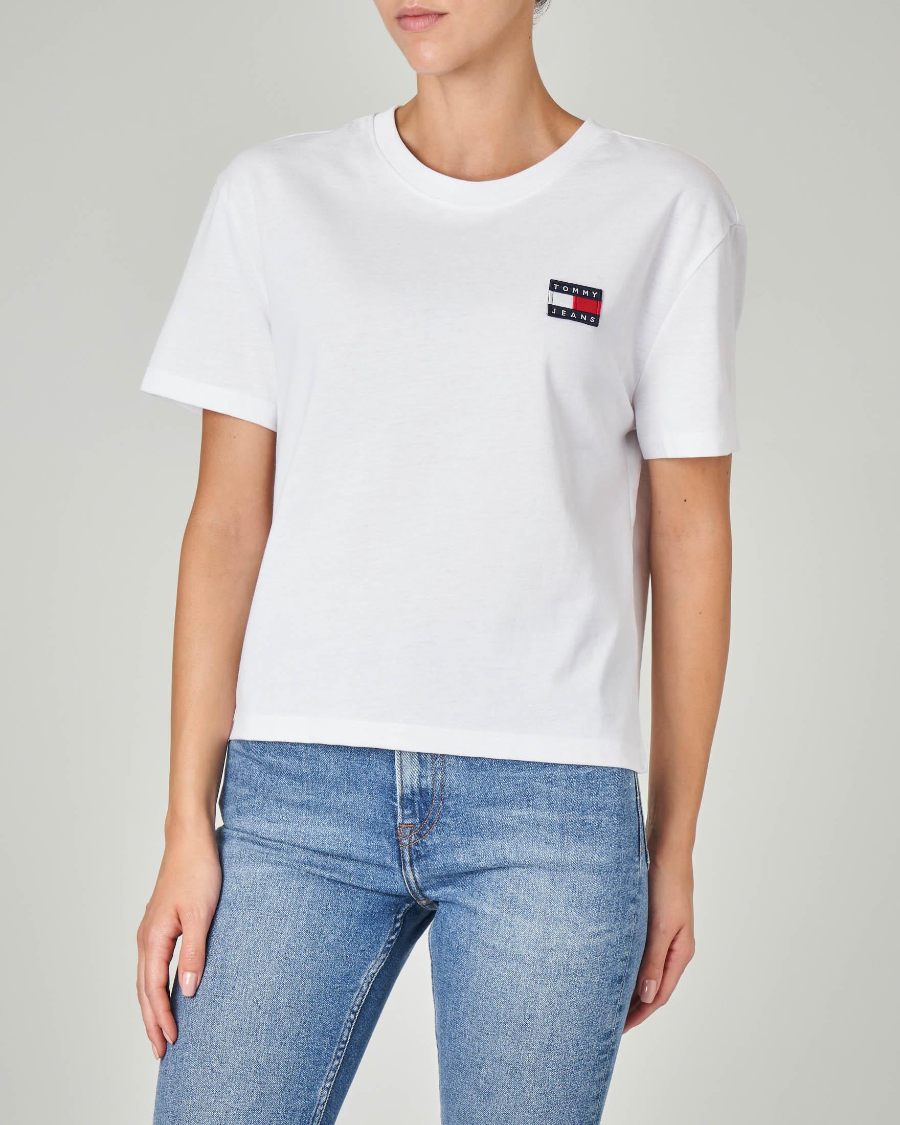 T-shirt manica corta bianca in cotone organico con logo
