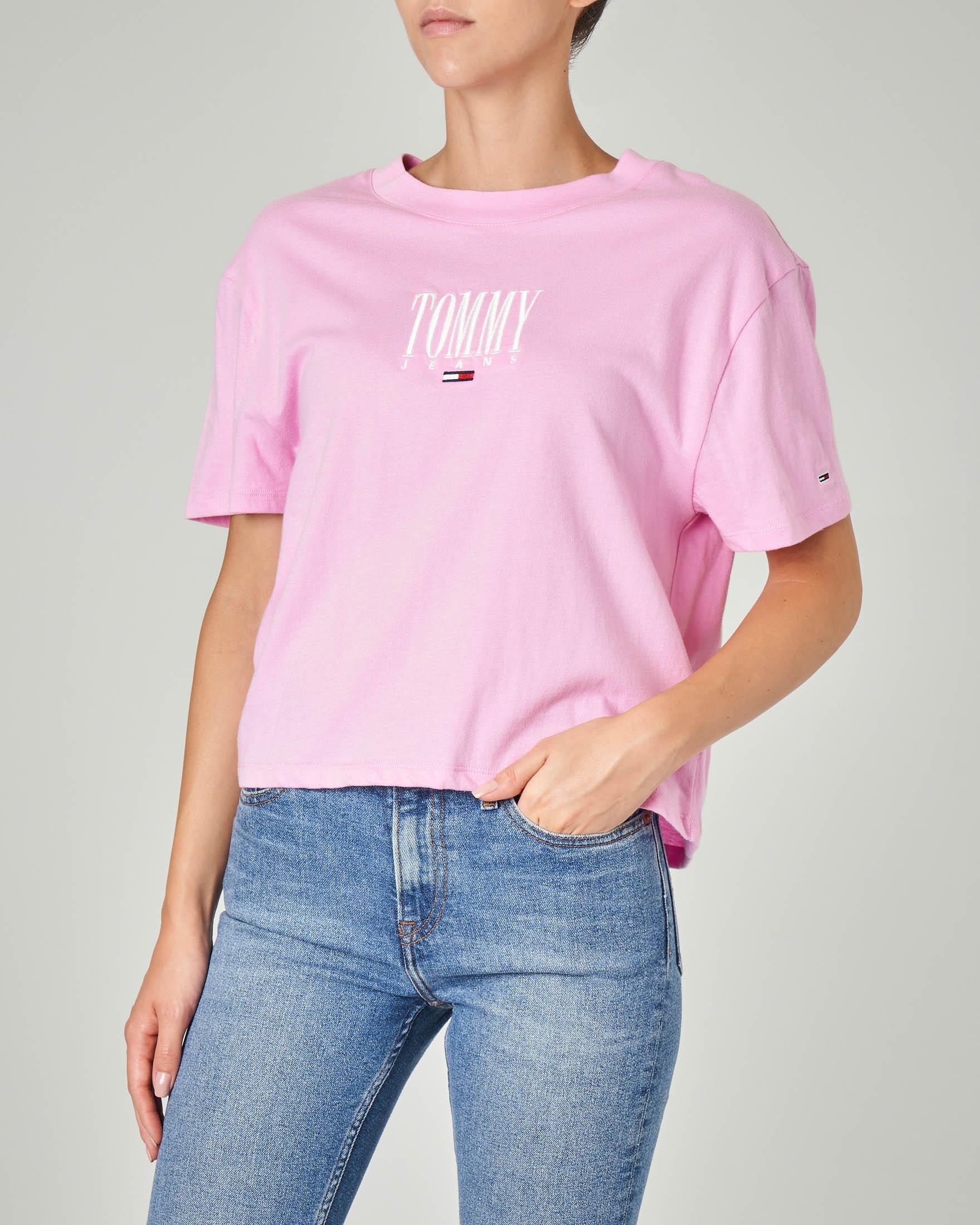 T-shirt cropped manica corta rosa in cotone con logo ricamato