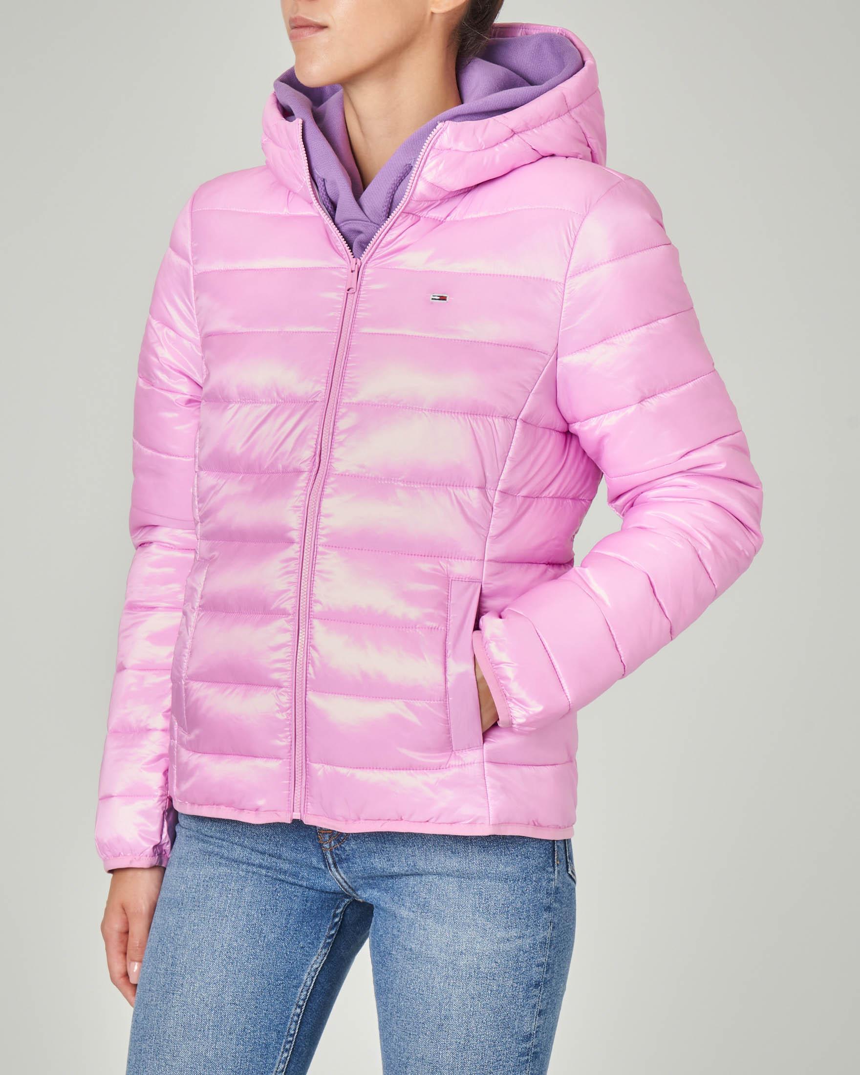 Piumino corto rosa con cappuccio linea sfiancata