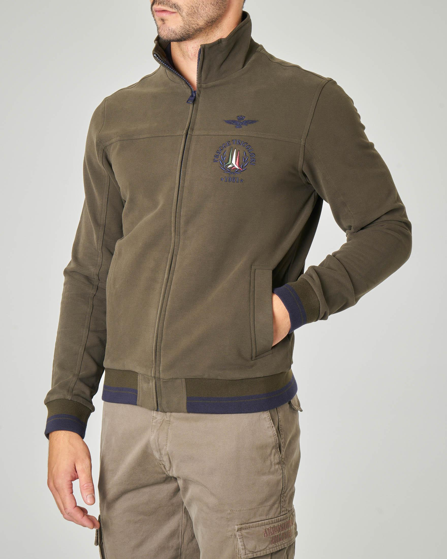 Felpa verde militare con zip in cotone stretch