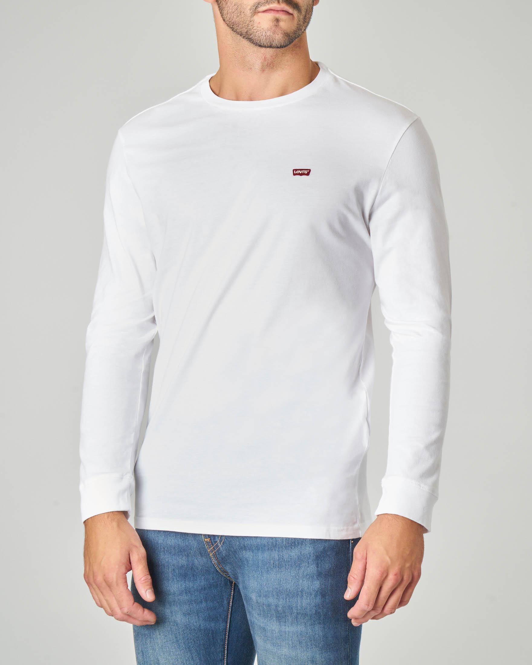 T-shirt bianca manica lunga con logo batwing piccolo