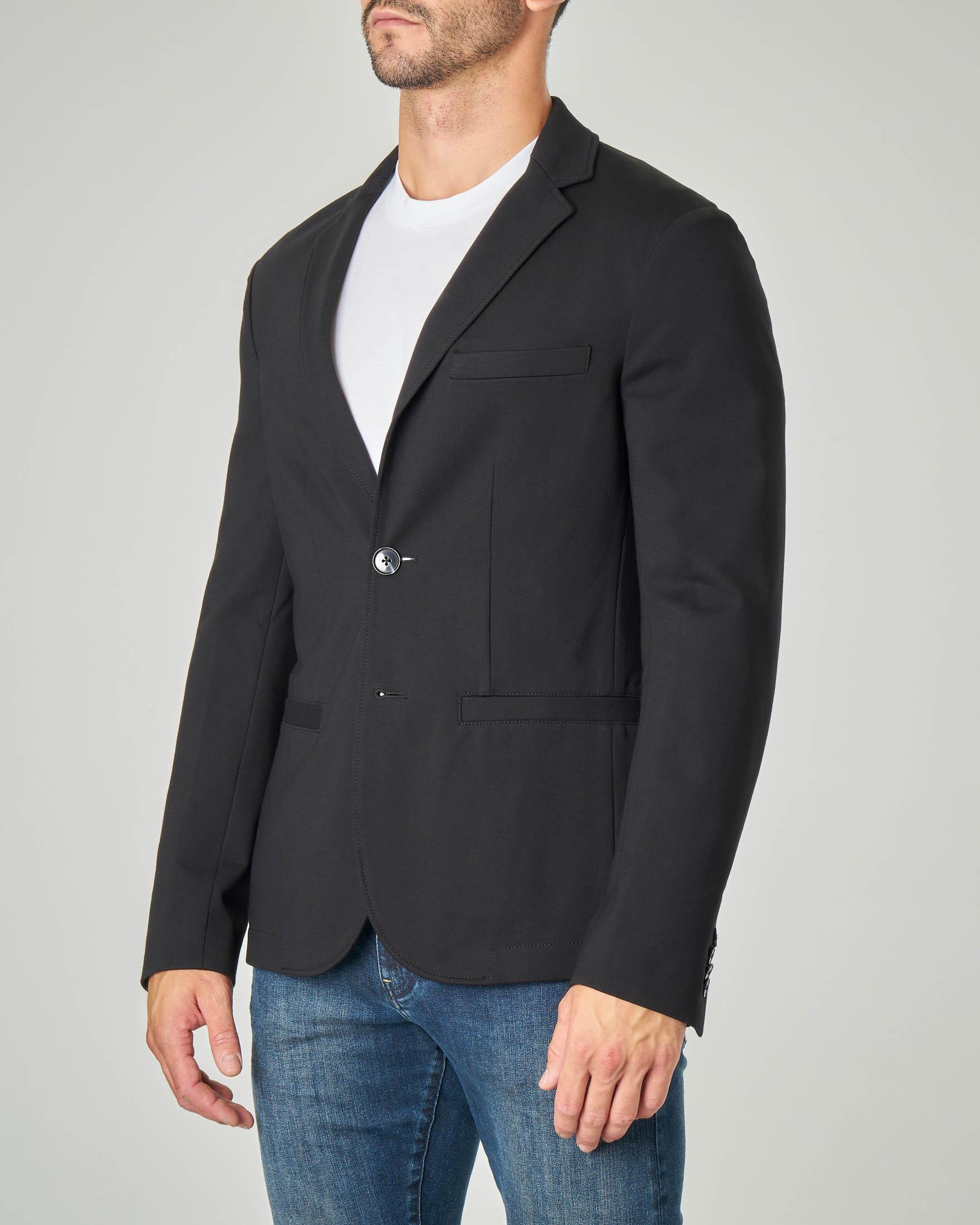 Blazer nero a due bottoni in viscosa stretch