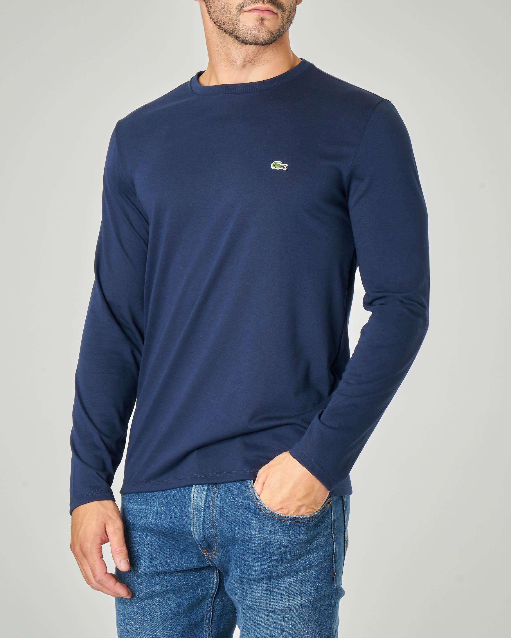 T-shirt blu manica lunga in pima cotton