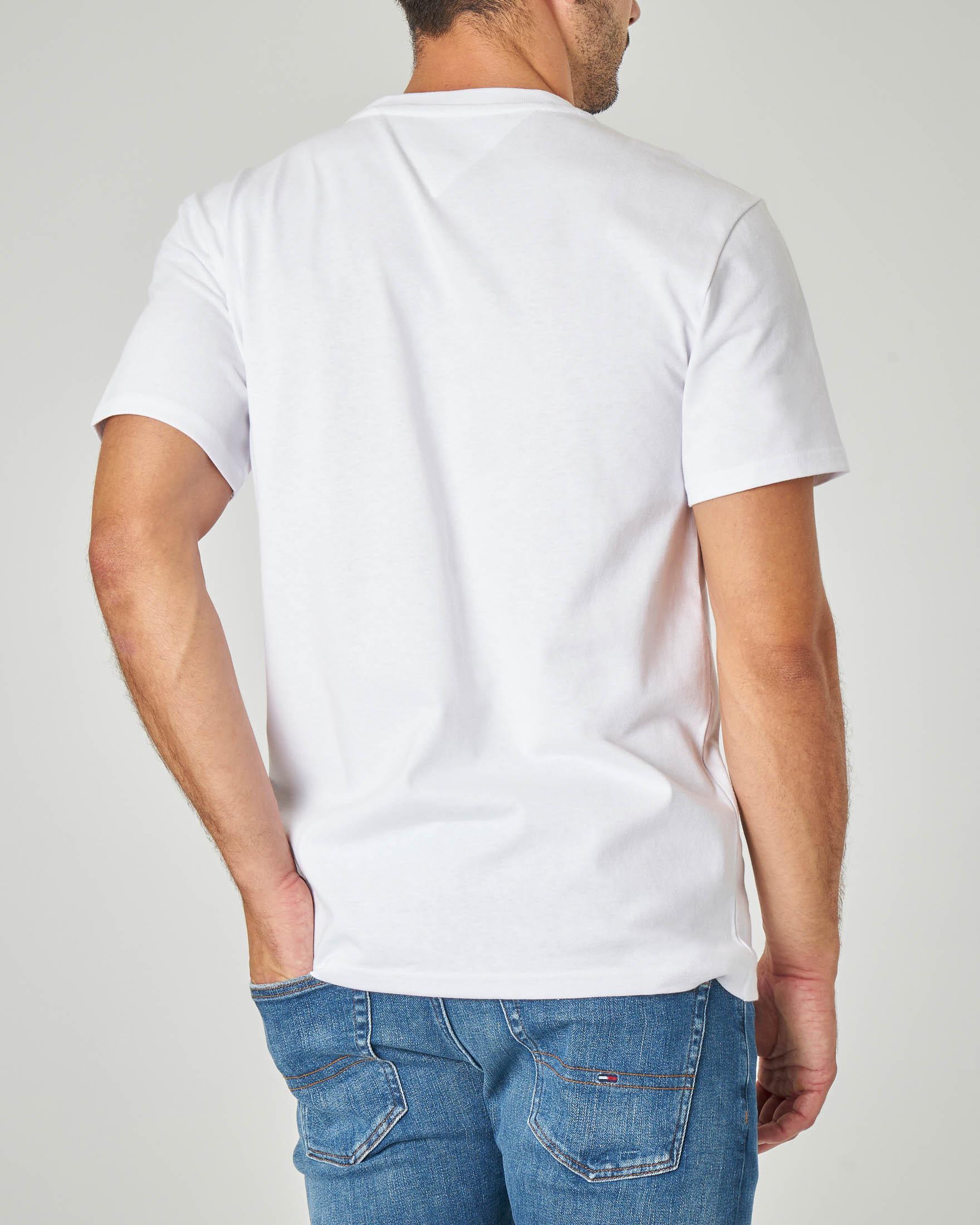 T-shirt bianca mezza manica con logo stampato