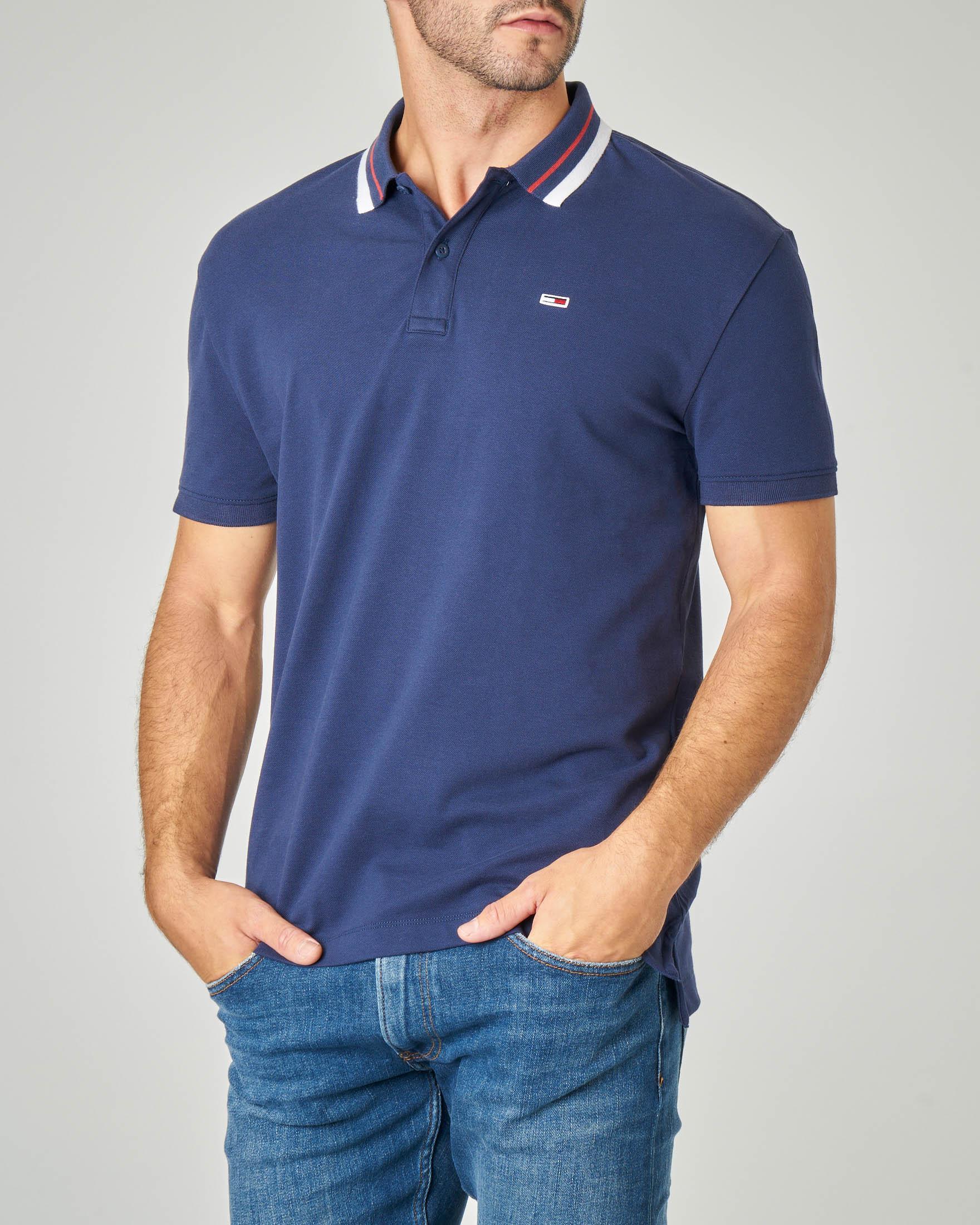 Polo blu con bordino sul colletto in cotone stretch