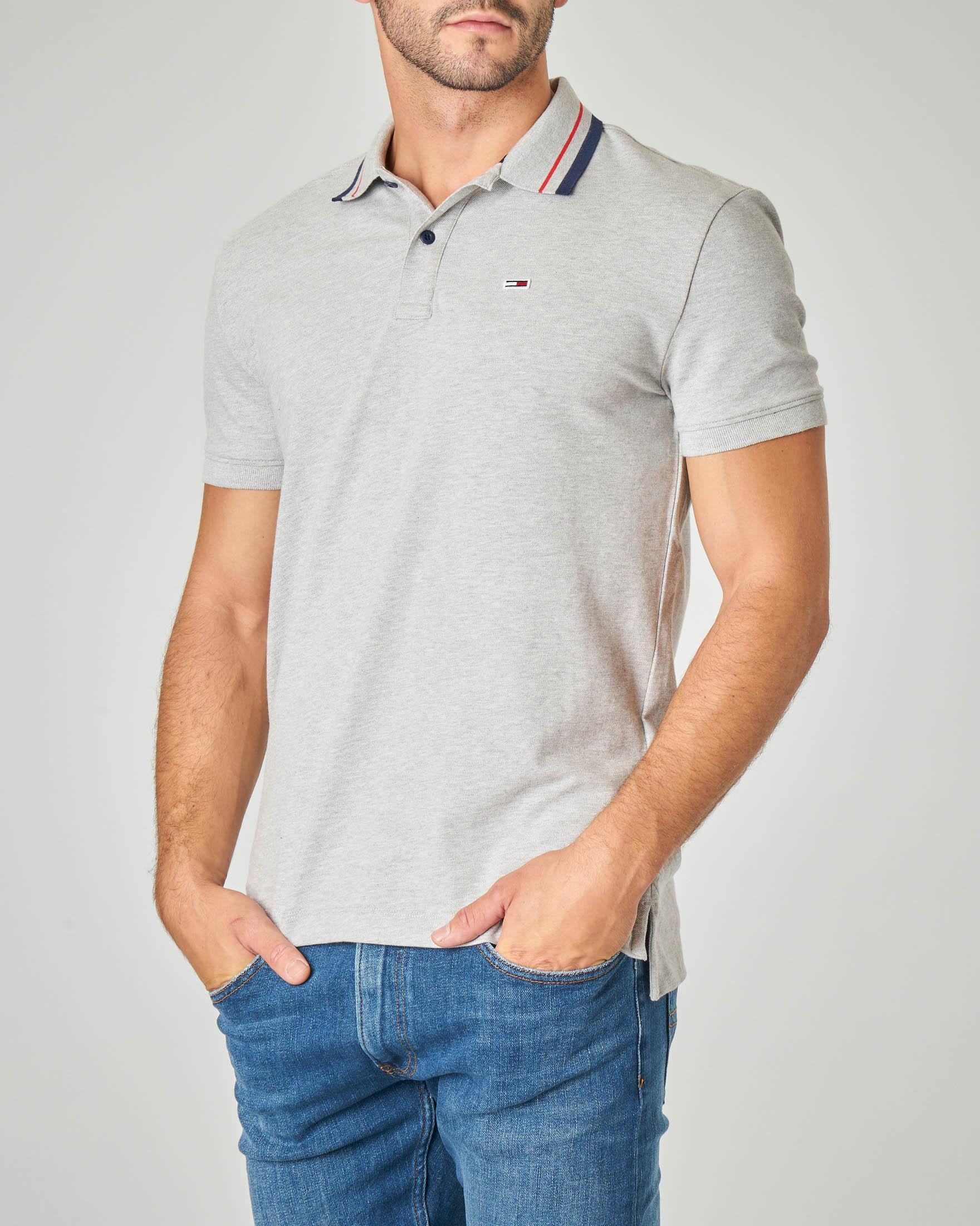 Polo grigia con bordino sul colletto in cotone stretch