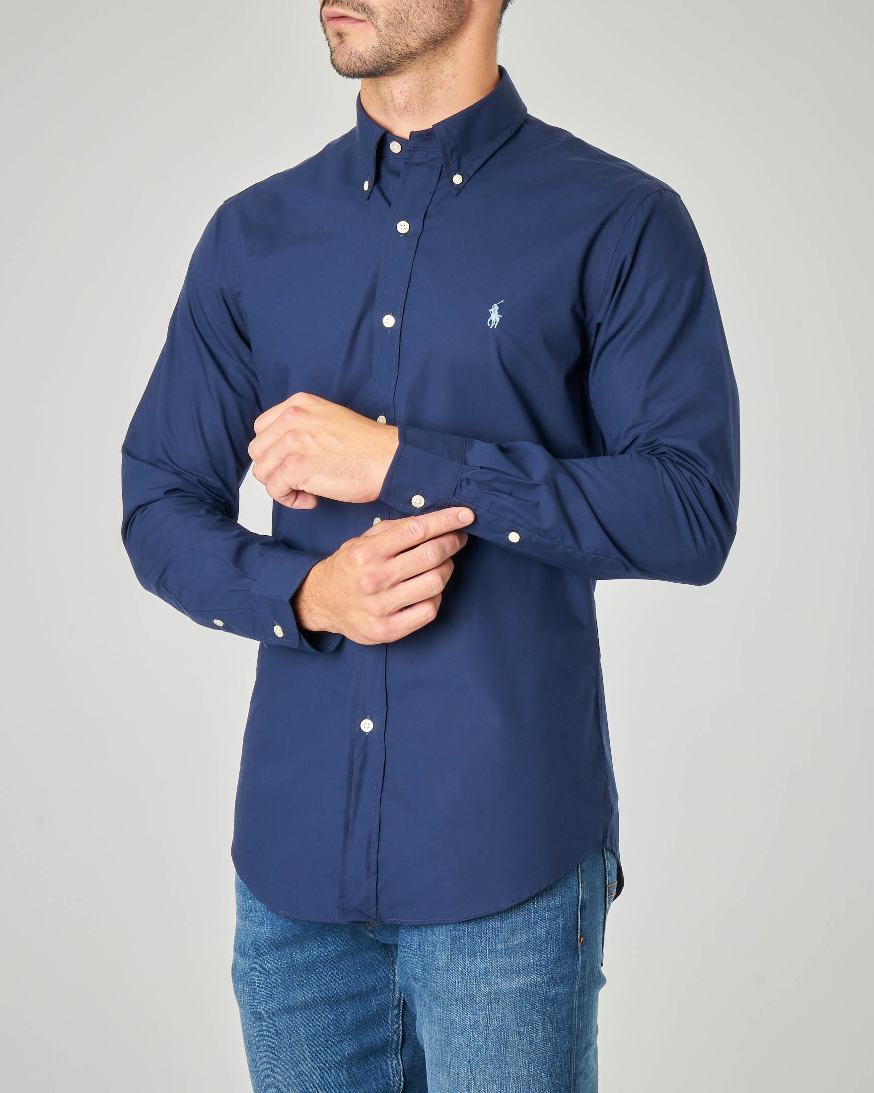 Camicia blu button down in popeline di cotone