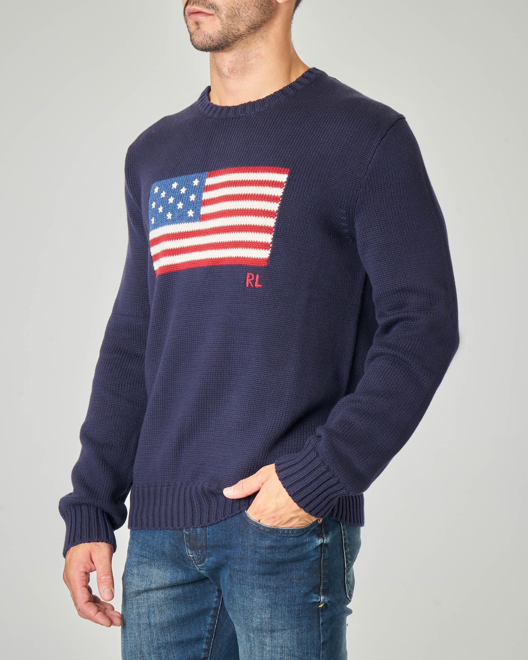 Maglia blu girocollo in cotone con bandiera USA ricamata
