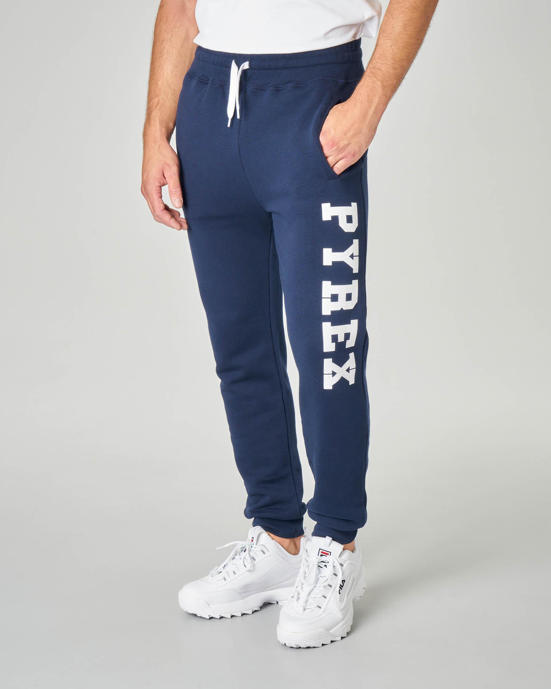 Pantalone in felpa blu con logo bianco