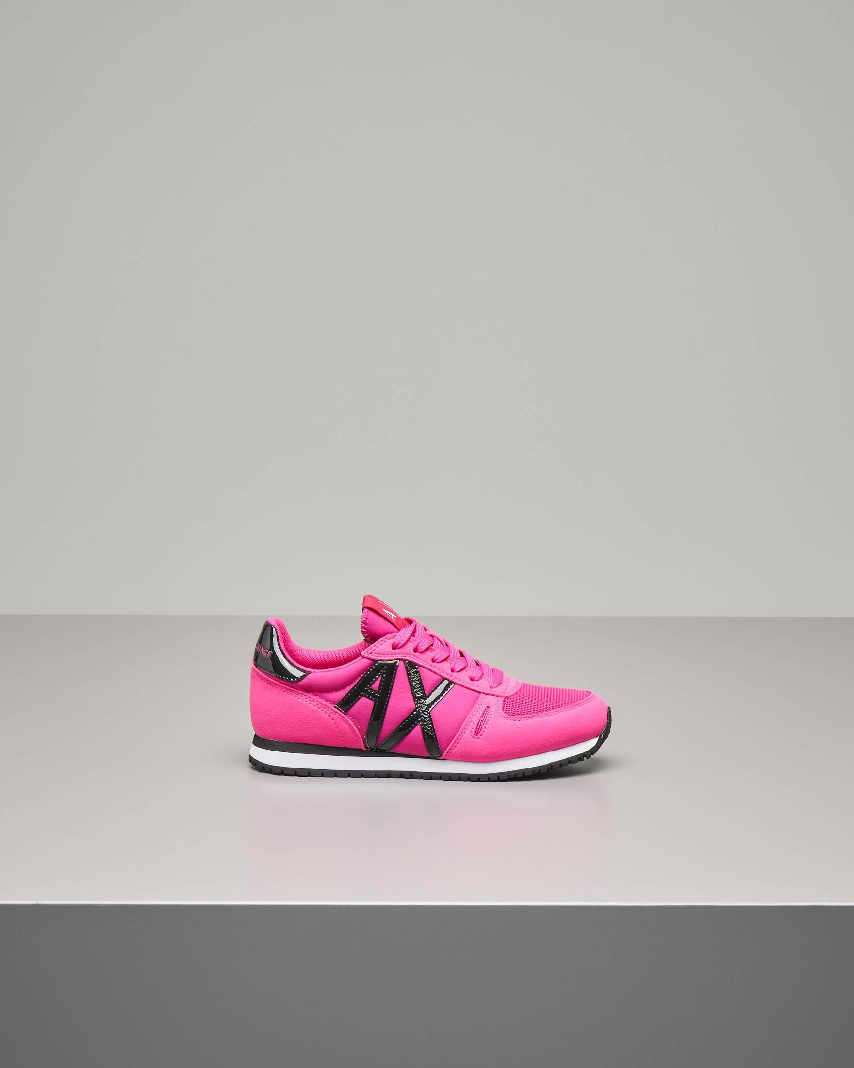 Sneakers fucsia in pelle con logo AX in vernice nero