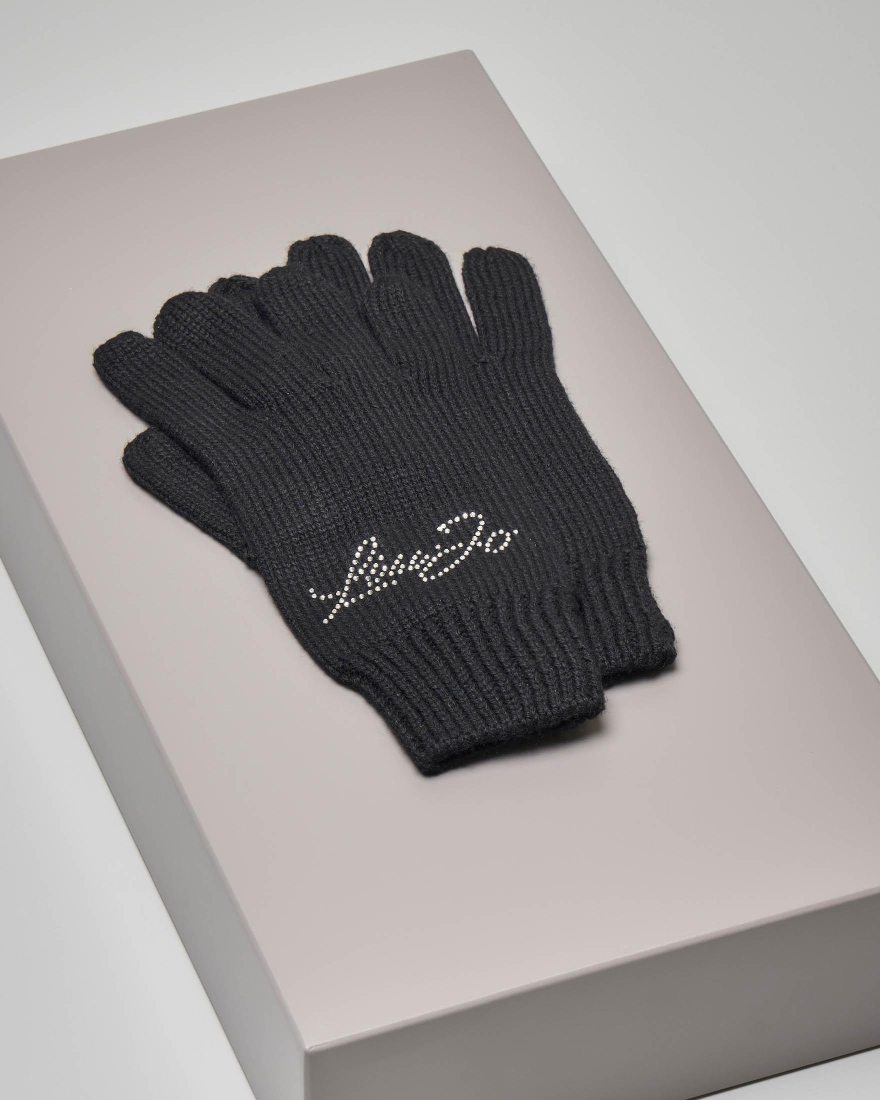 Guanti neri in lana misto cashmere con scritta logo in strass