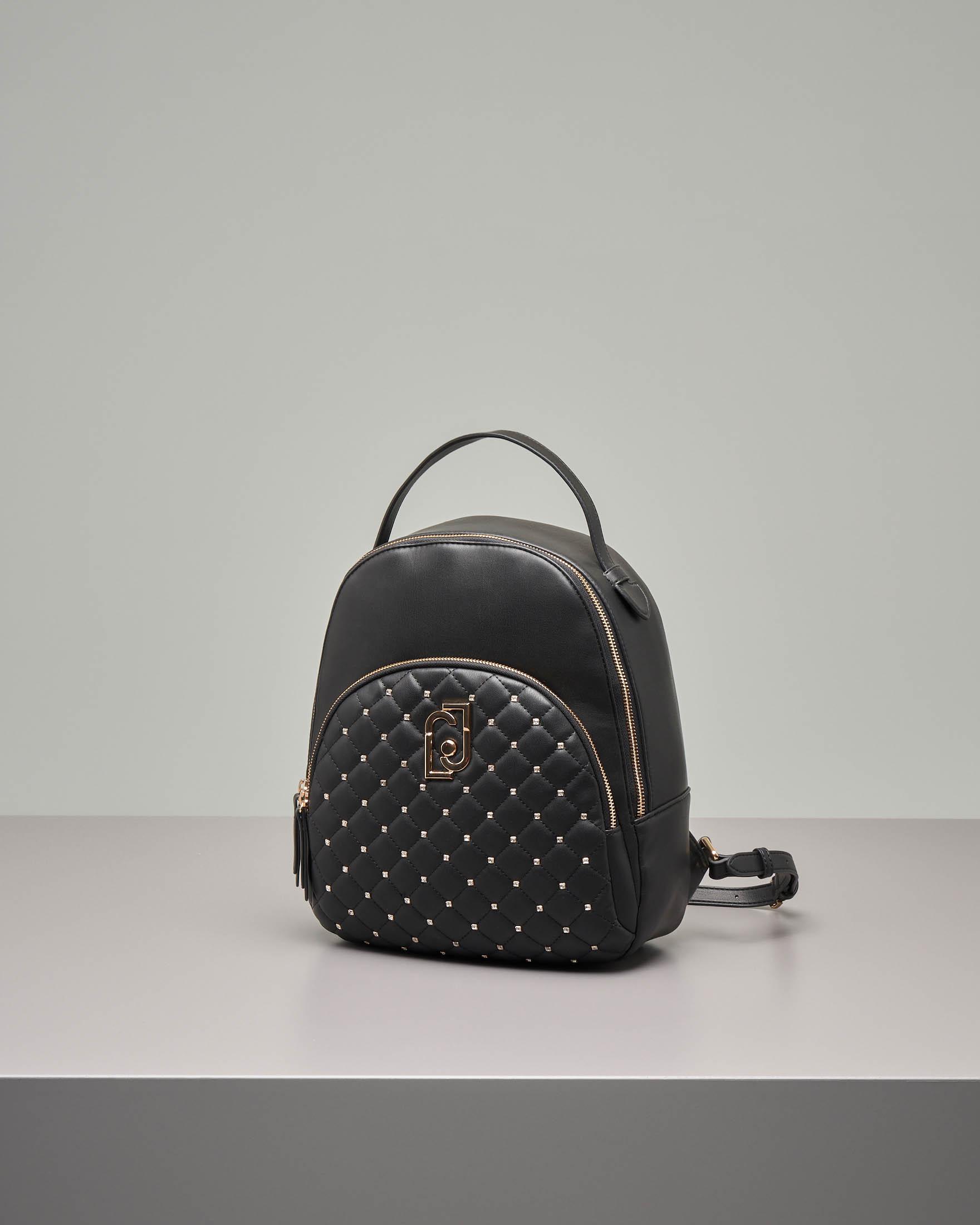 Zaino nero in ecopelle con tasca con disegno trapuntato e strass applicati