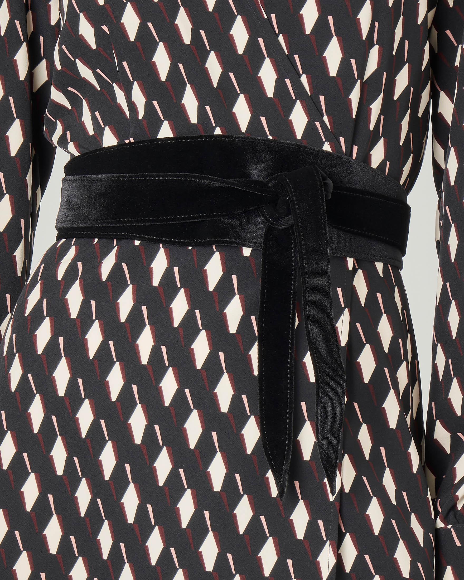 Cintura a fusciacca nera in velluto