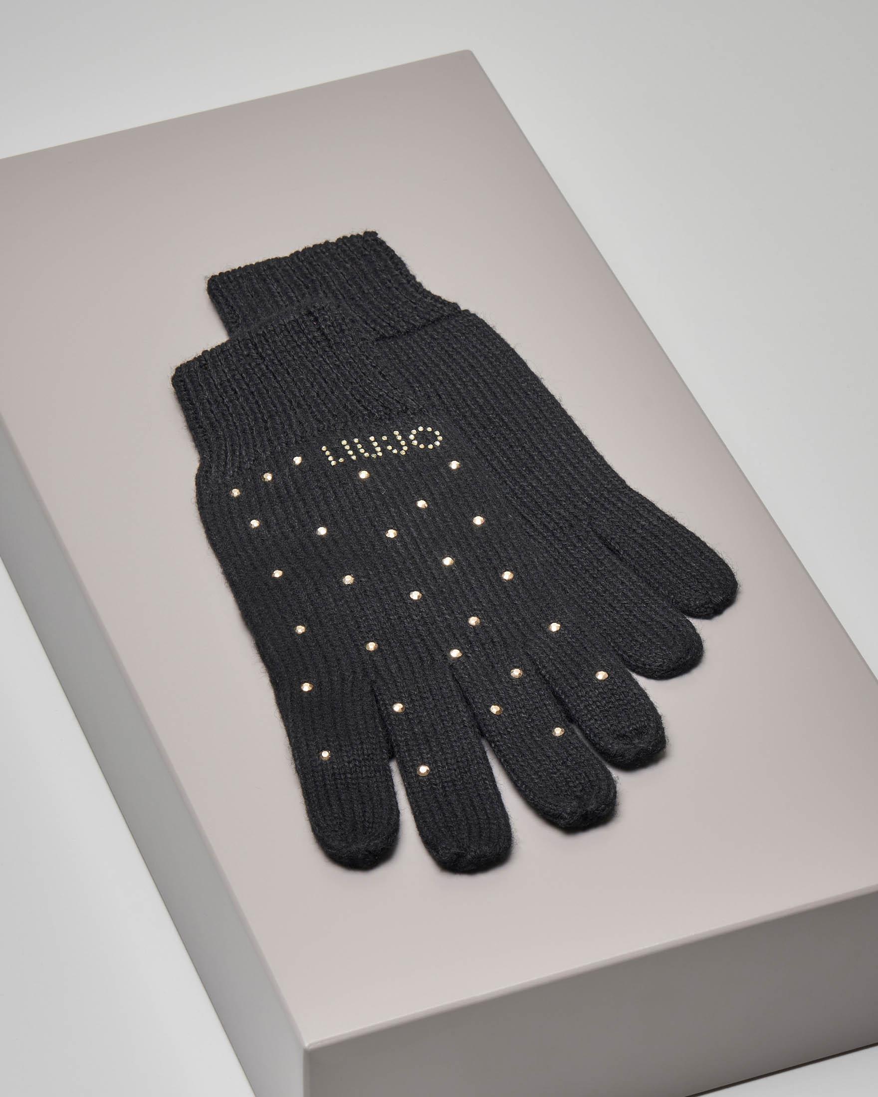 Guanti neri in lana misto cashmere con microborchie applicate