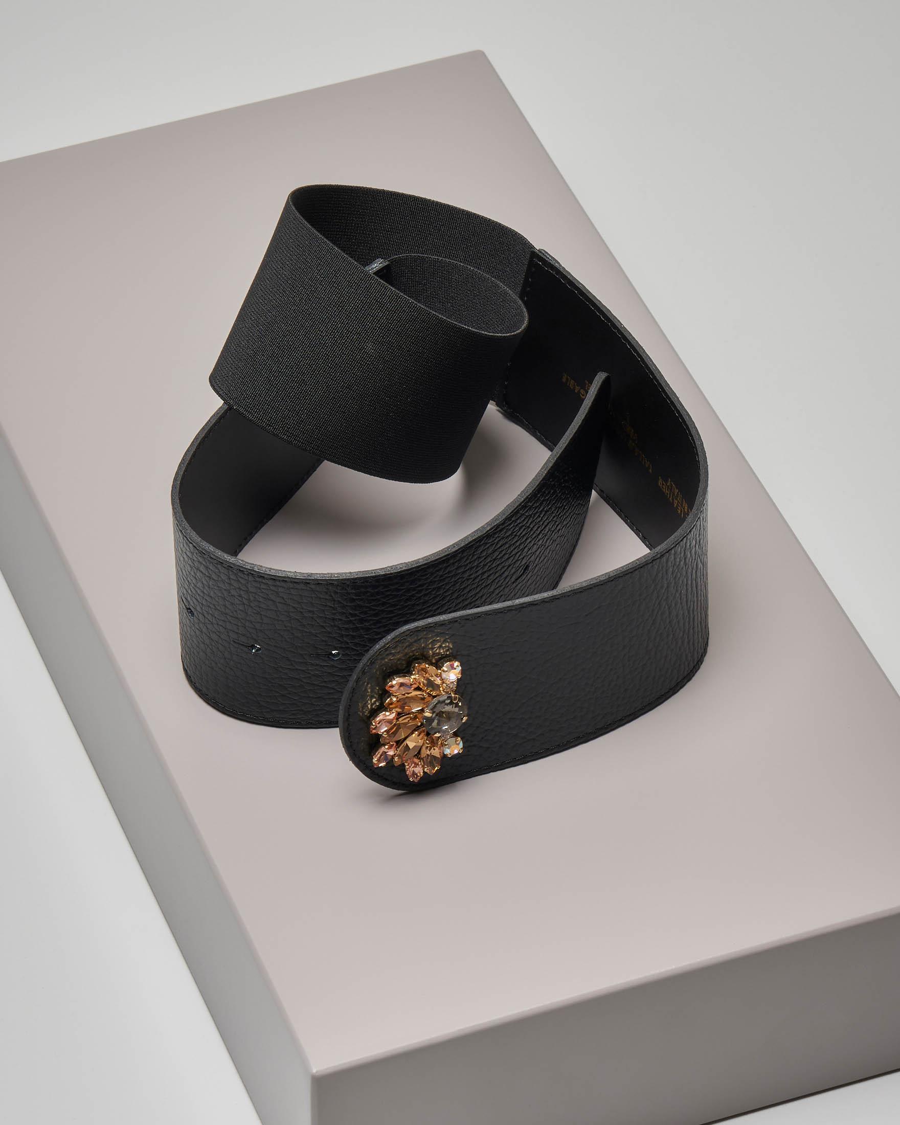 Cintura in ecopelle e fascia elastica nera con chiusura gioiello