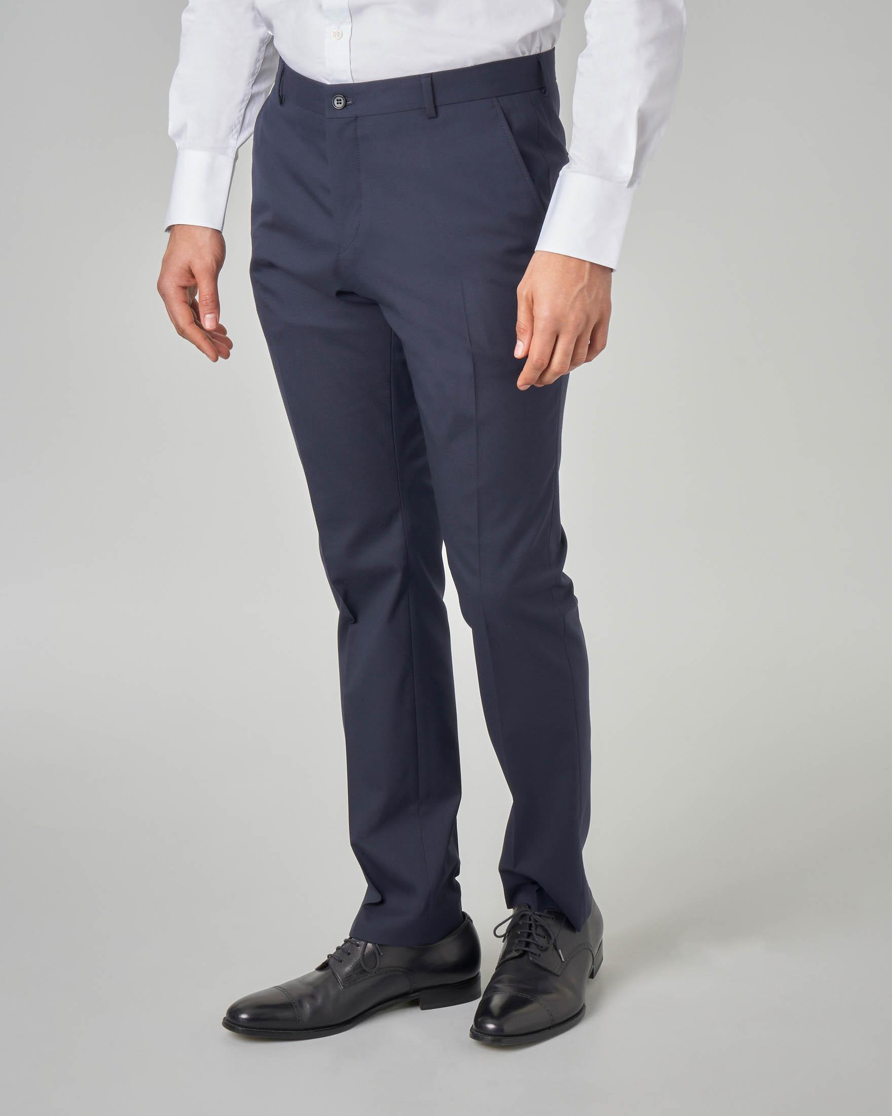 Pantalone blu tinta unita