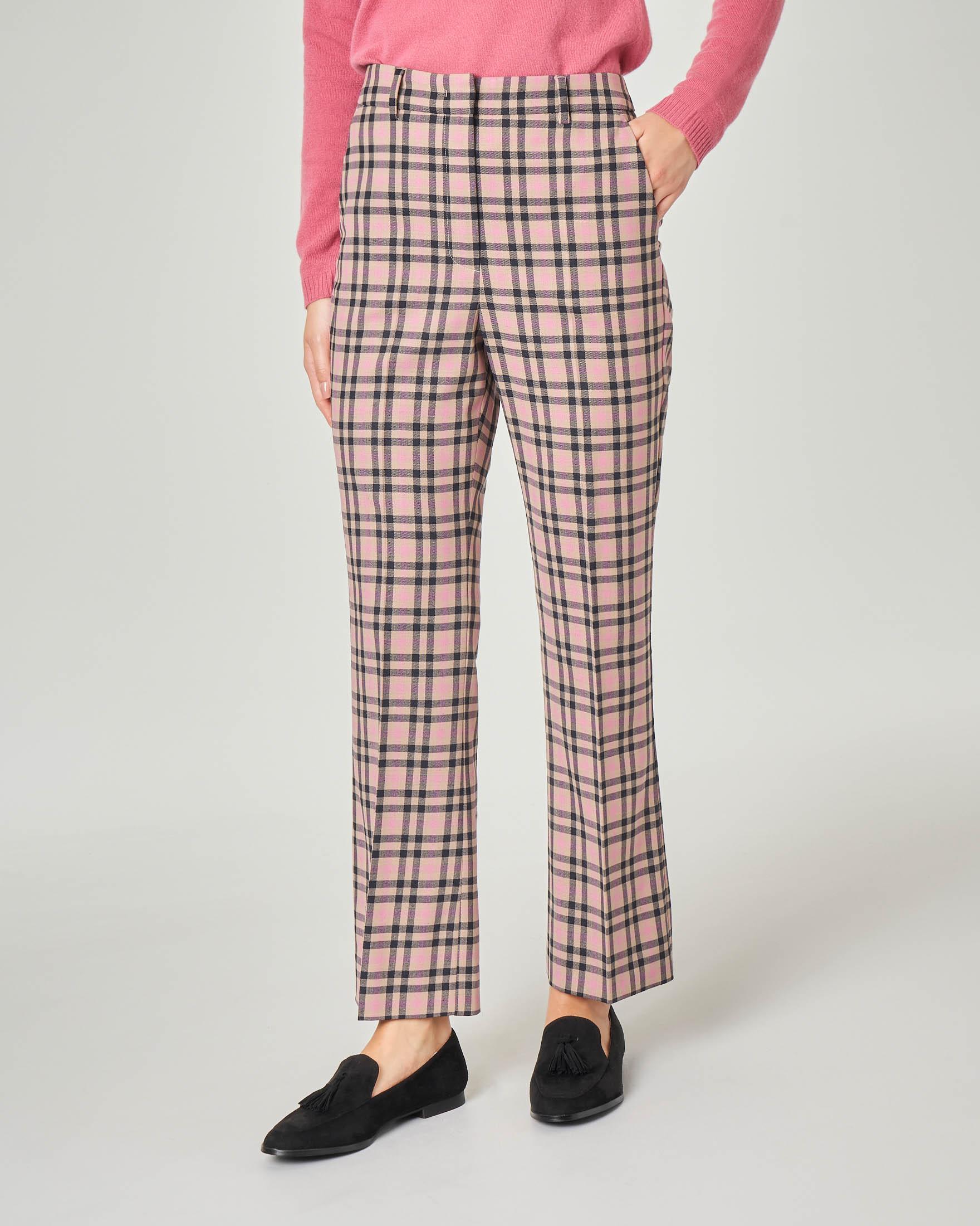 Pantaloni in gabardina di mista lana rosa fantasia check
