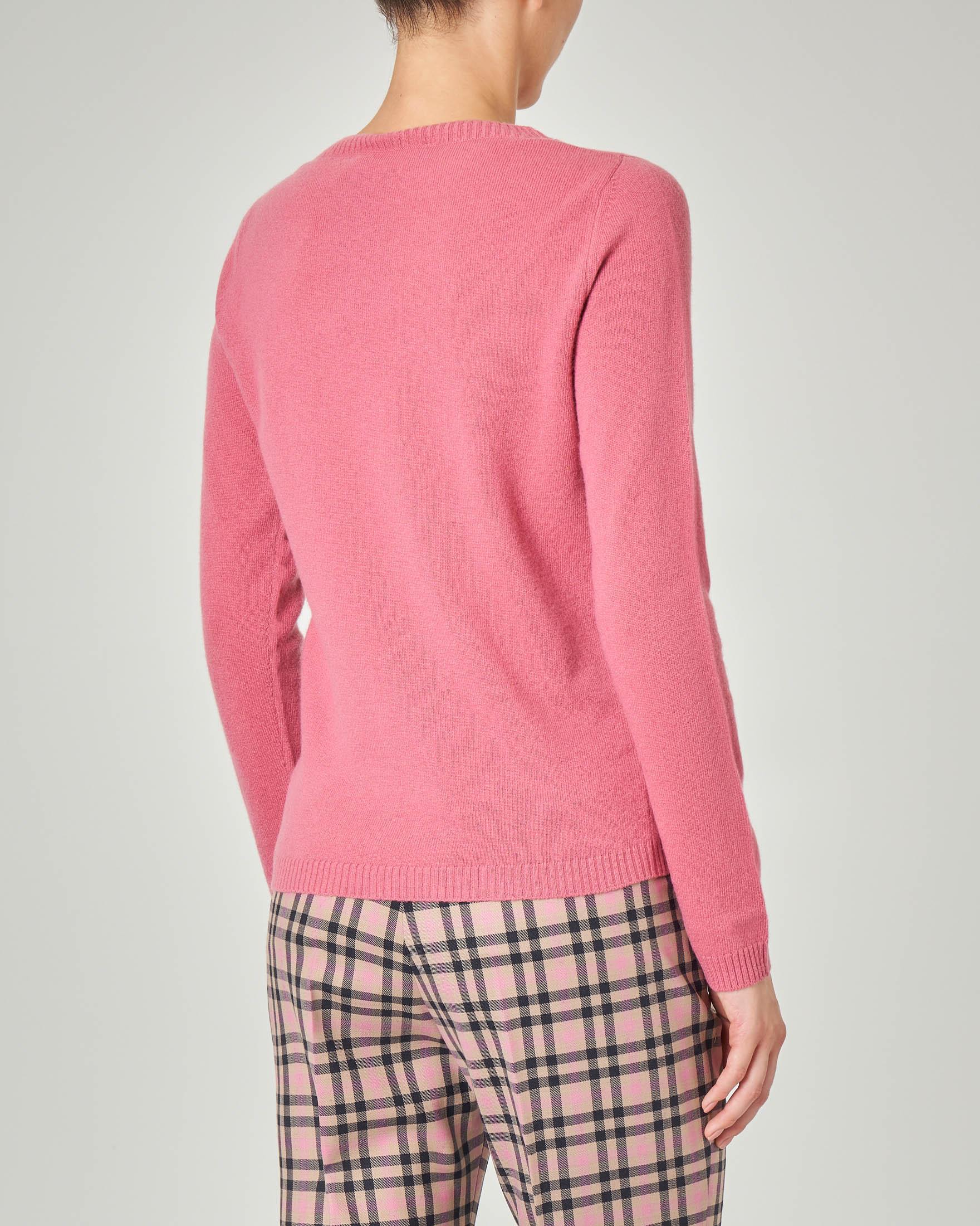 Maglia rosa girocollo in lana vergine
