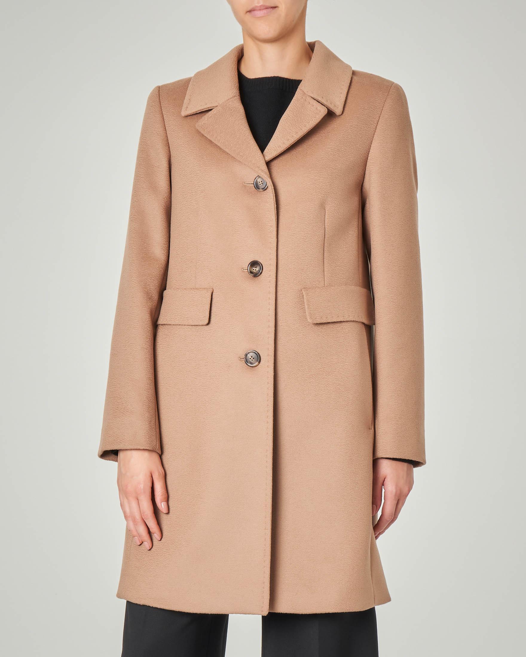Cappotto color cammello in pura lana vergine con collo a rever