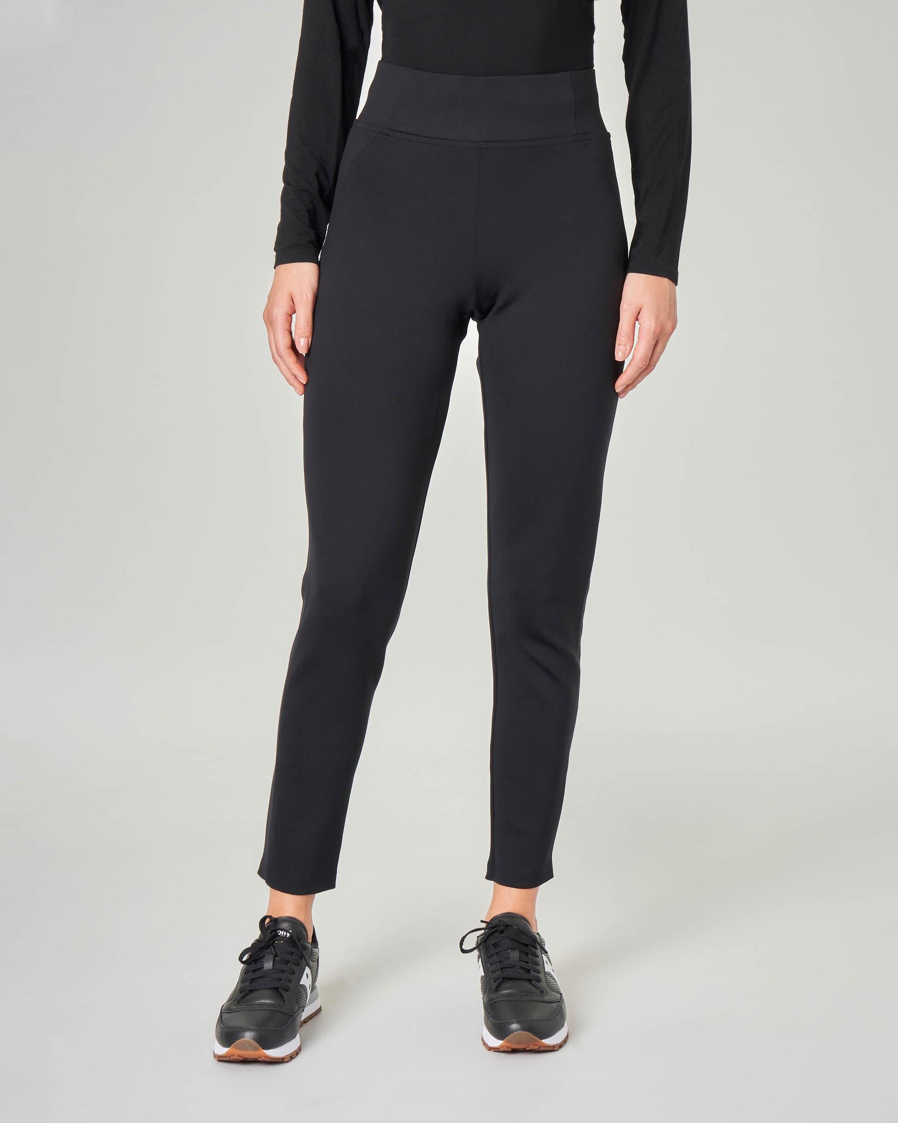 Jogging a vita alta neri in tessuto stretch