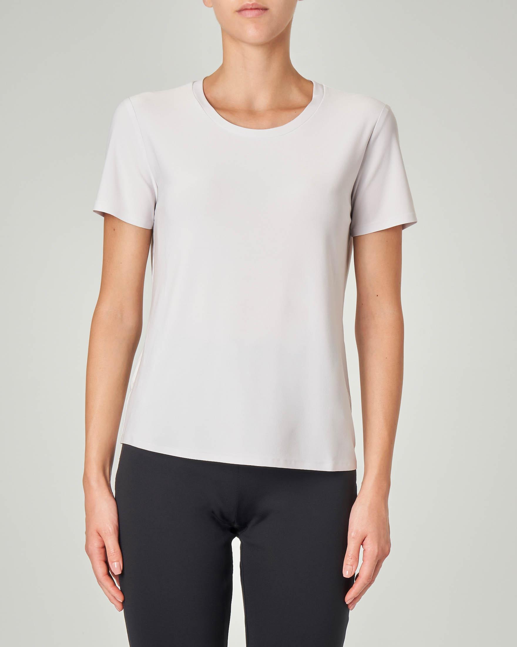 T-shirt maniche corte color gesso in tessuto stretch