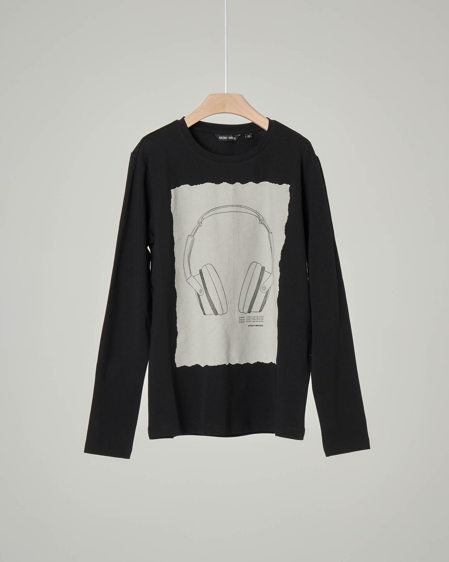 T-shirt nera manica lunga con stampa cuffie DJ 10-16 anni