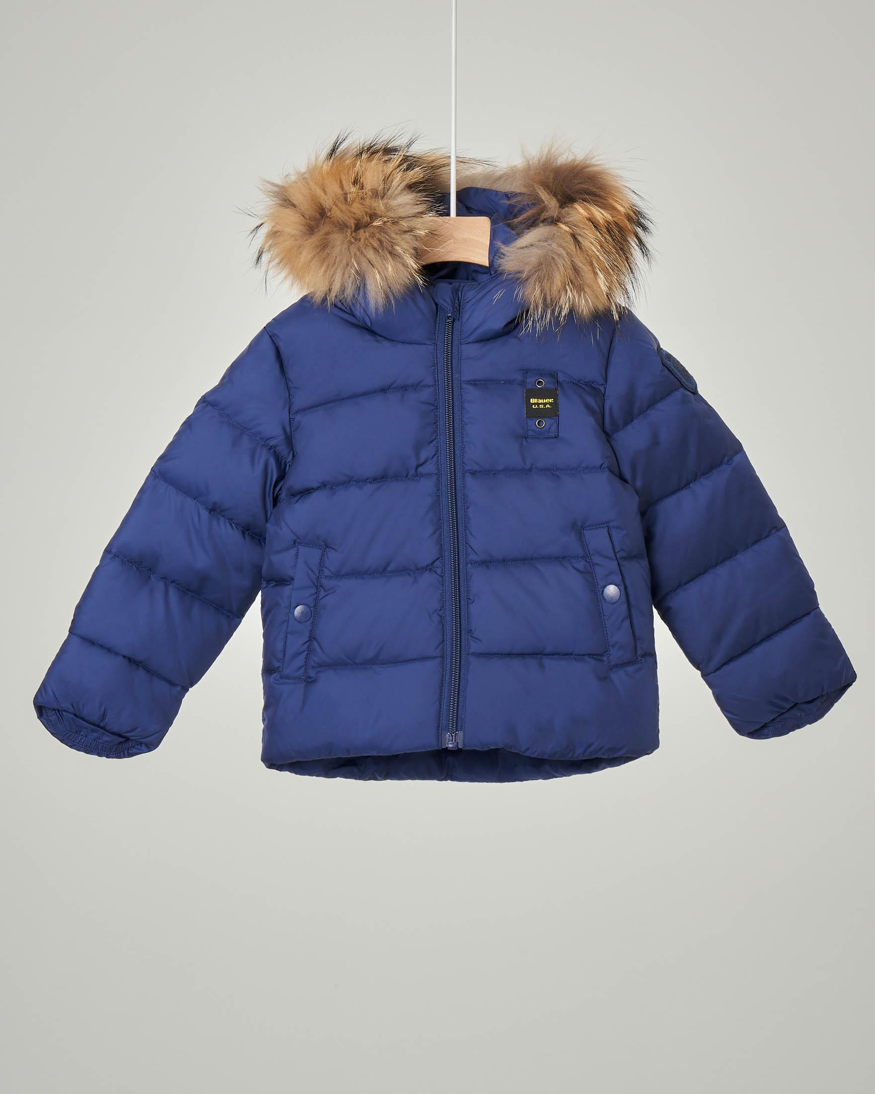Giaccone blu imbottito in piuma con cappuccio e vera pelliccia staccabile 12-24 mesi
