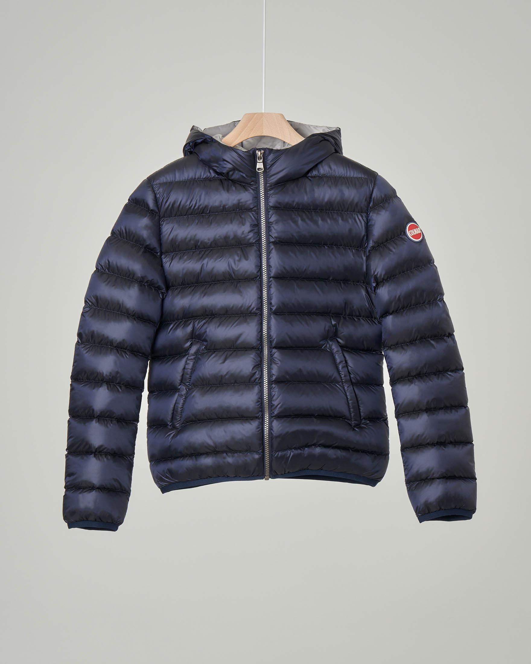 Piumino blu con cappuccio fisso 8-10 anni
