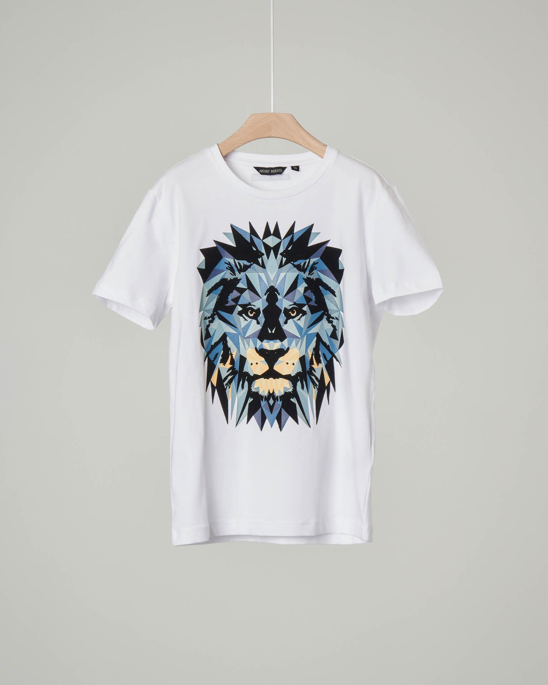 T-shirt bianca mezza manica con stampa grafica leone 10-16 anni