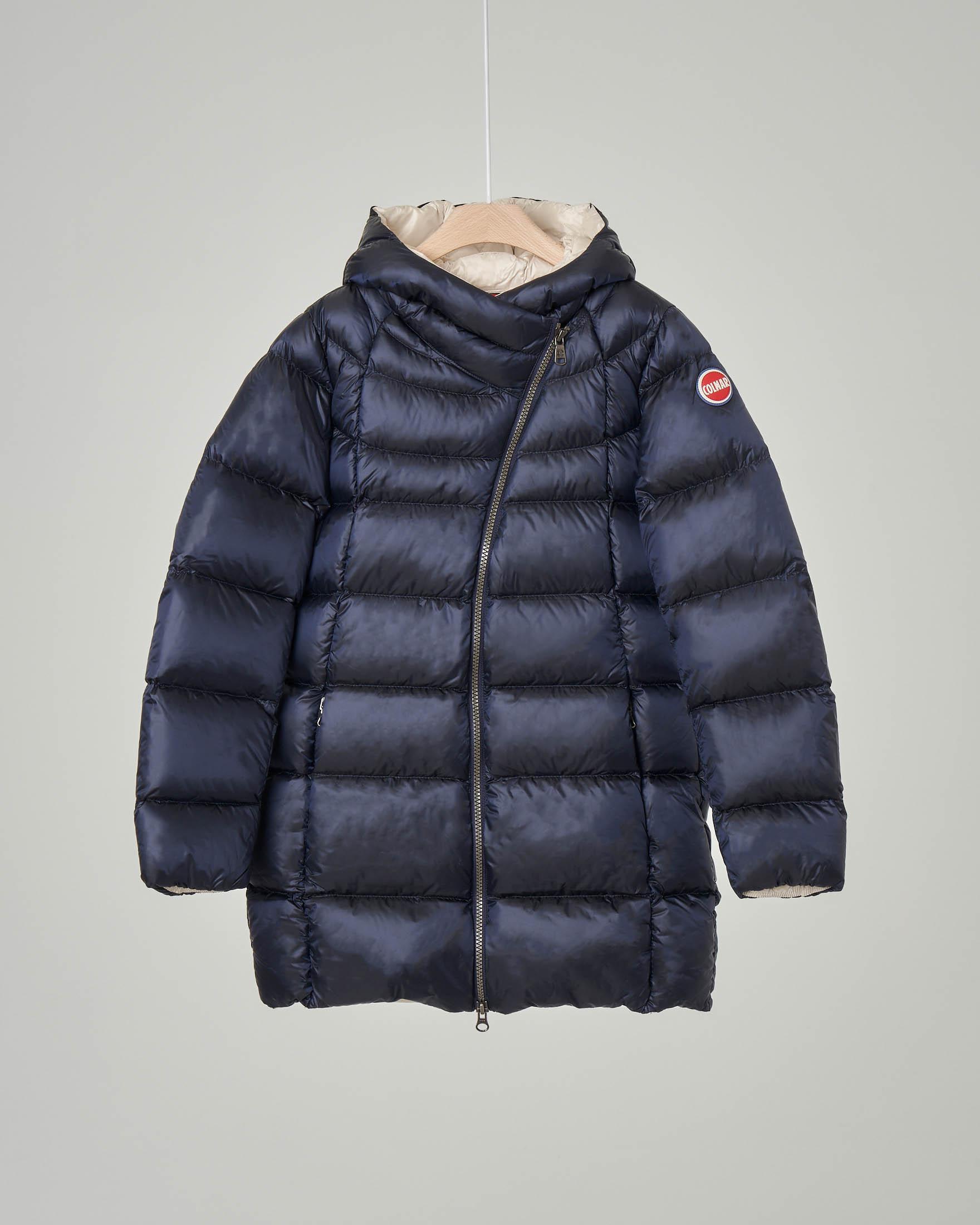 Cappotto blu imbottito in piuma con chiusura diagonale 12-16 anni