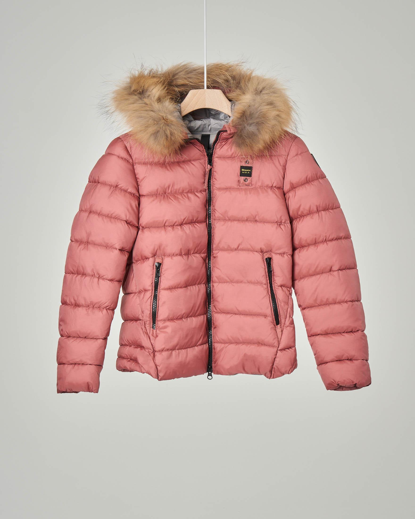 Giaccone rosa con cappuccio e pelliccia staccabile 10-14 anni