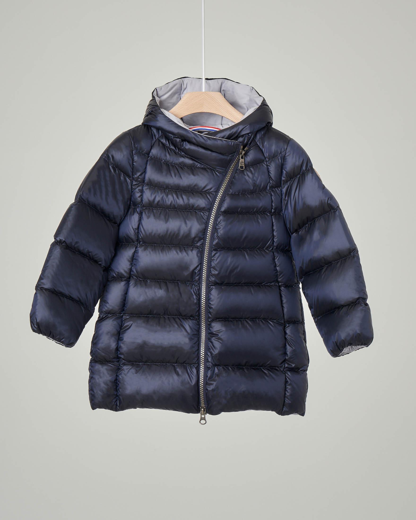 Cappotto blu imbottito in piuma con chiusura diagonale 18-36 mesi