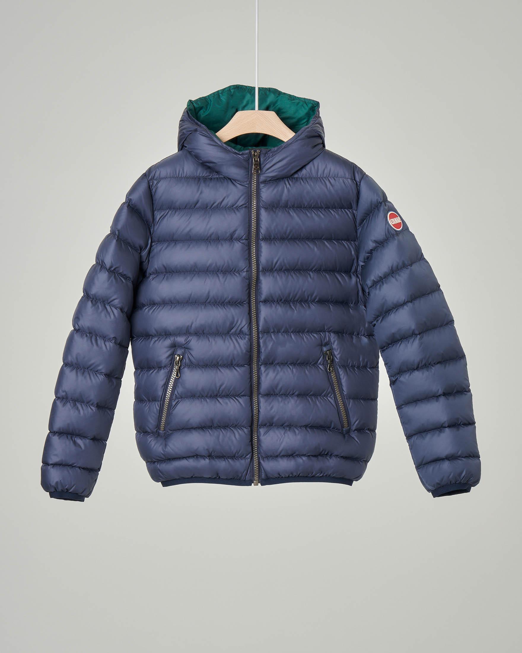 Piumino blu con cappuccio fisso 4-6 anni