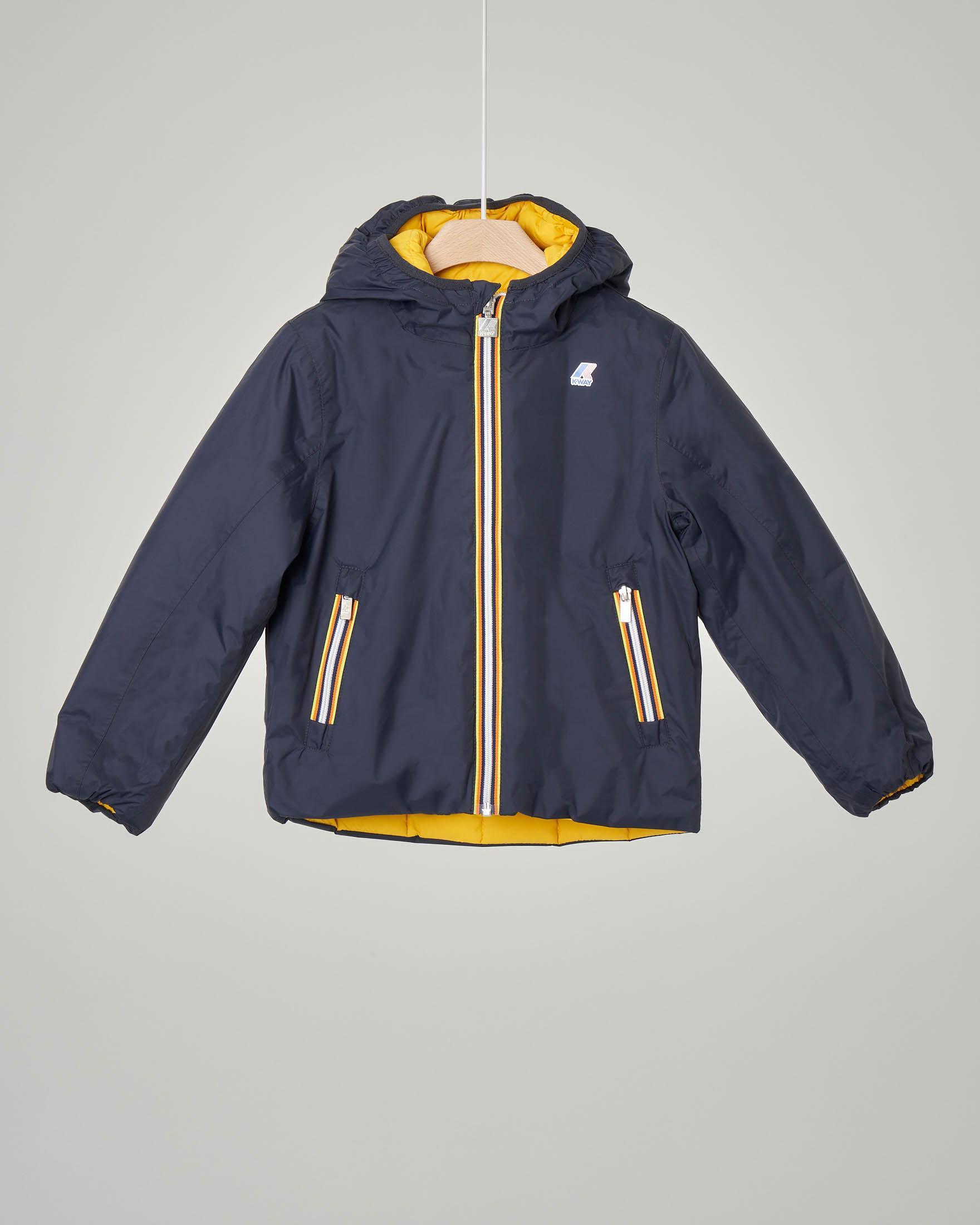 Giacca blu con cappuccio reversibile in piumino giallo 4-8 anni